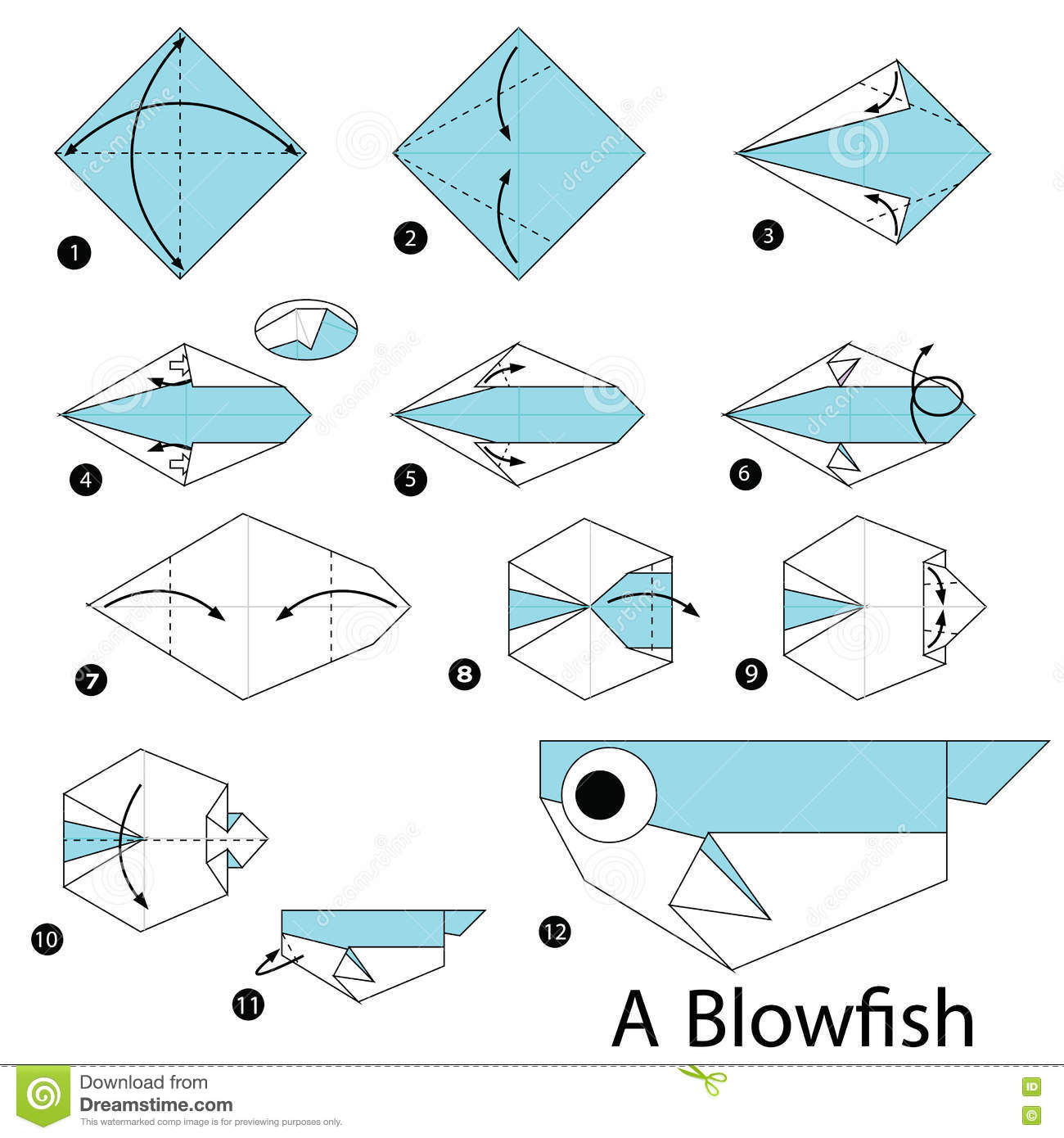 Step By Step Instructions How To Make Origami A Blow Fish ... - photo#8