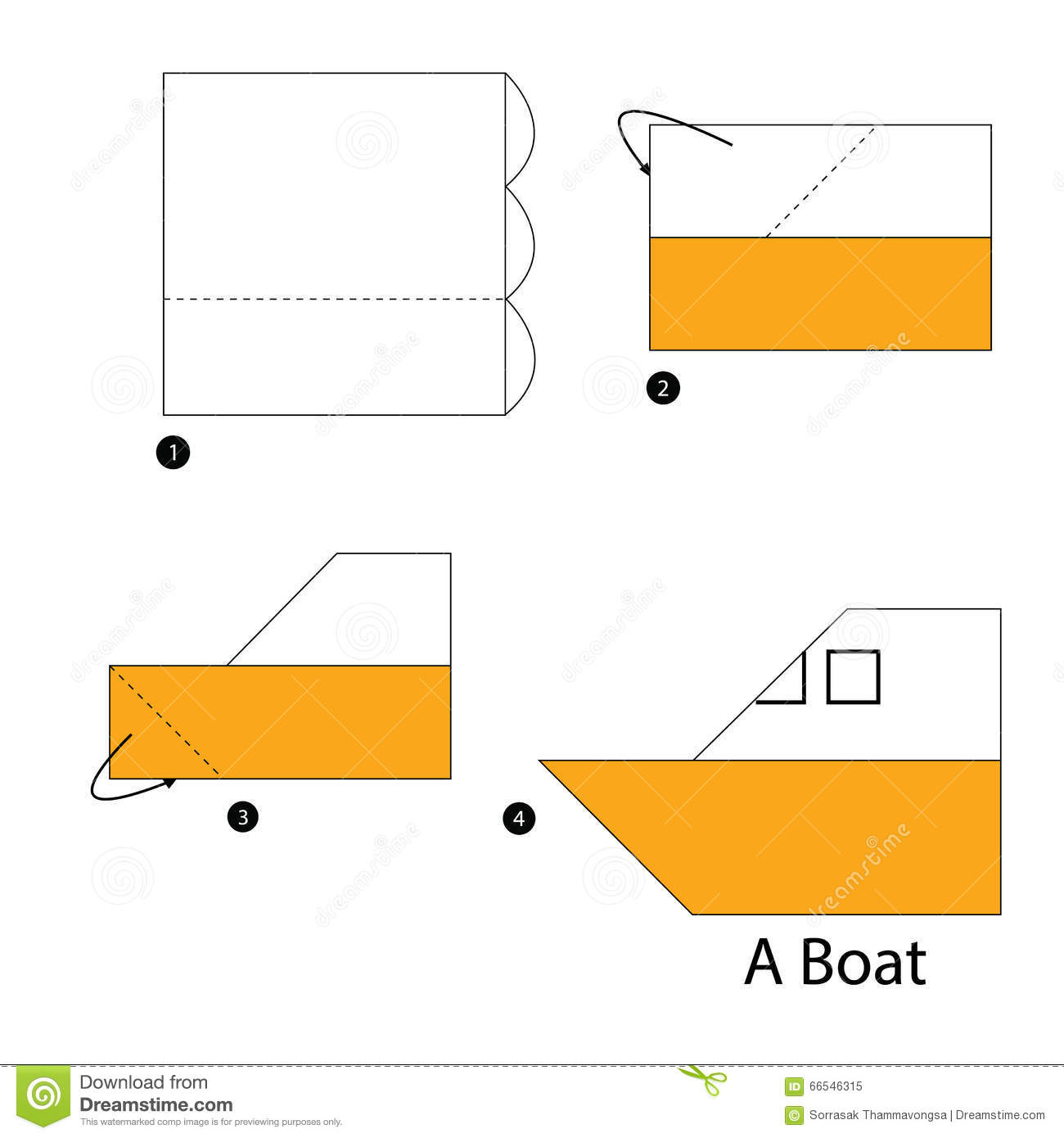 Step By Instructions How To Make Origami Boat Royalty Free Stock Photo