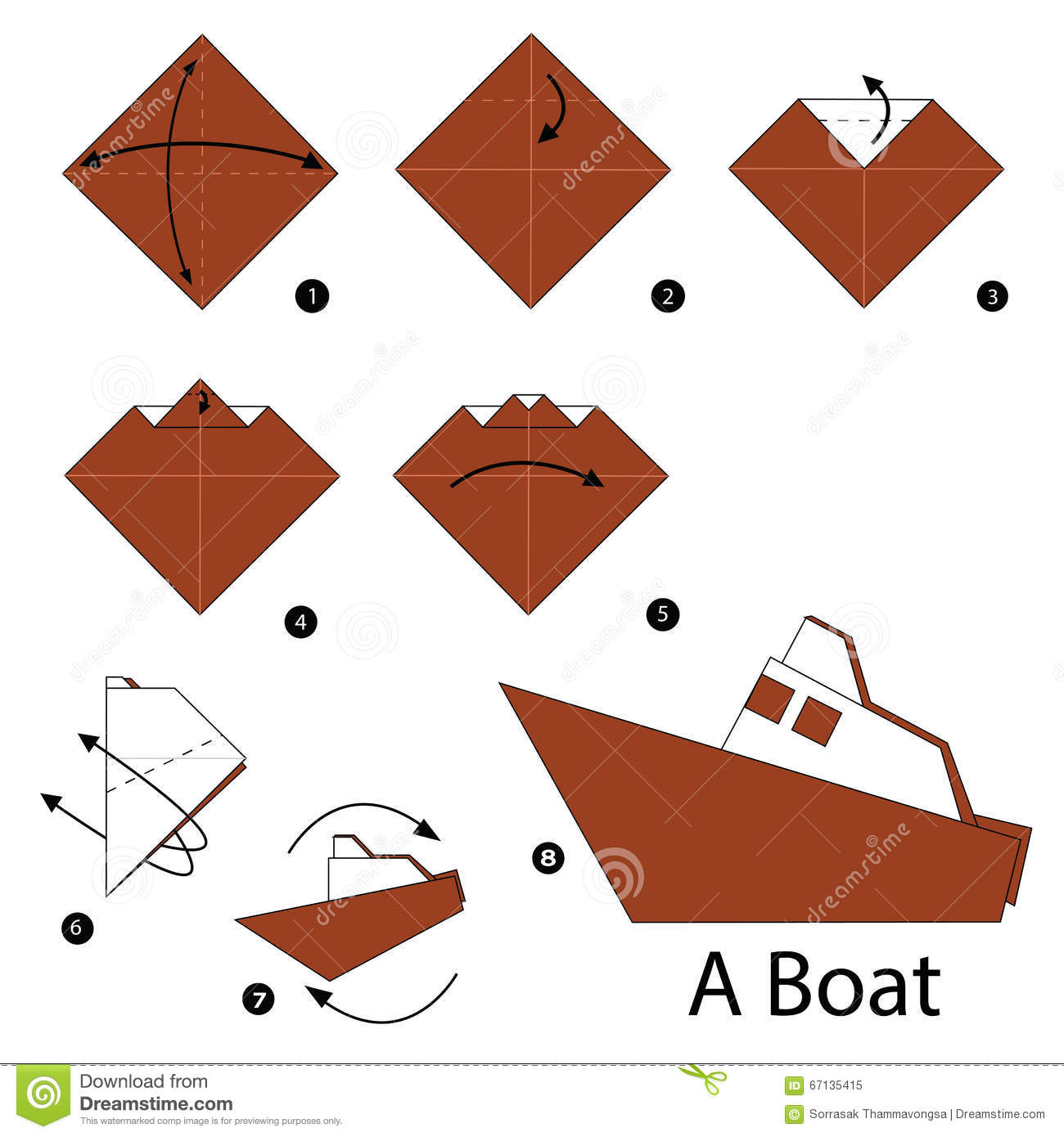 Step By Step Instructions How To Make Origami Boat. Stock ...