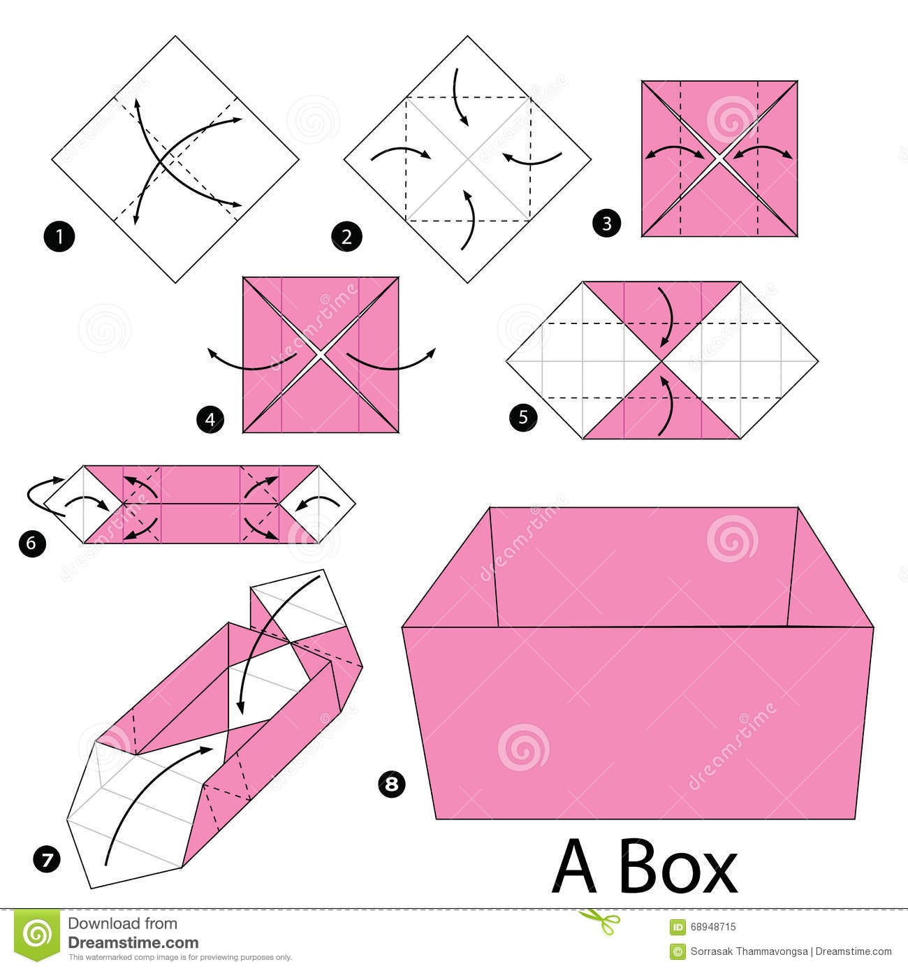 Step By Step Instructions How To Make Origami A Box. Stock Vector ...