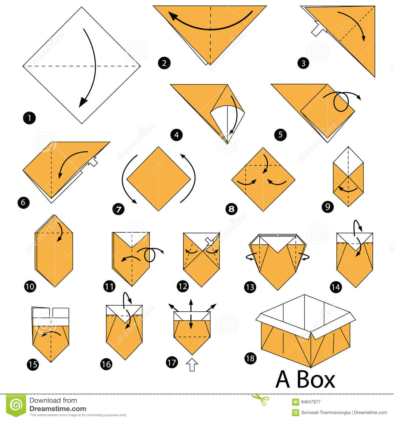 Step By Step Instructions How To Make Origami A Box Stock Vector