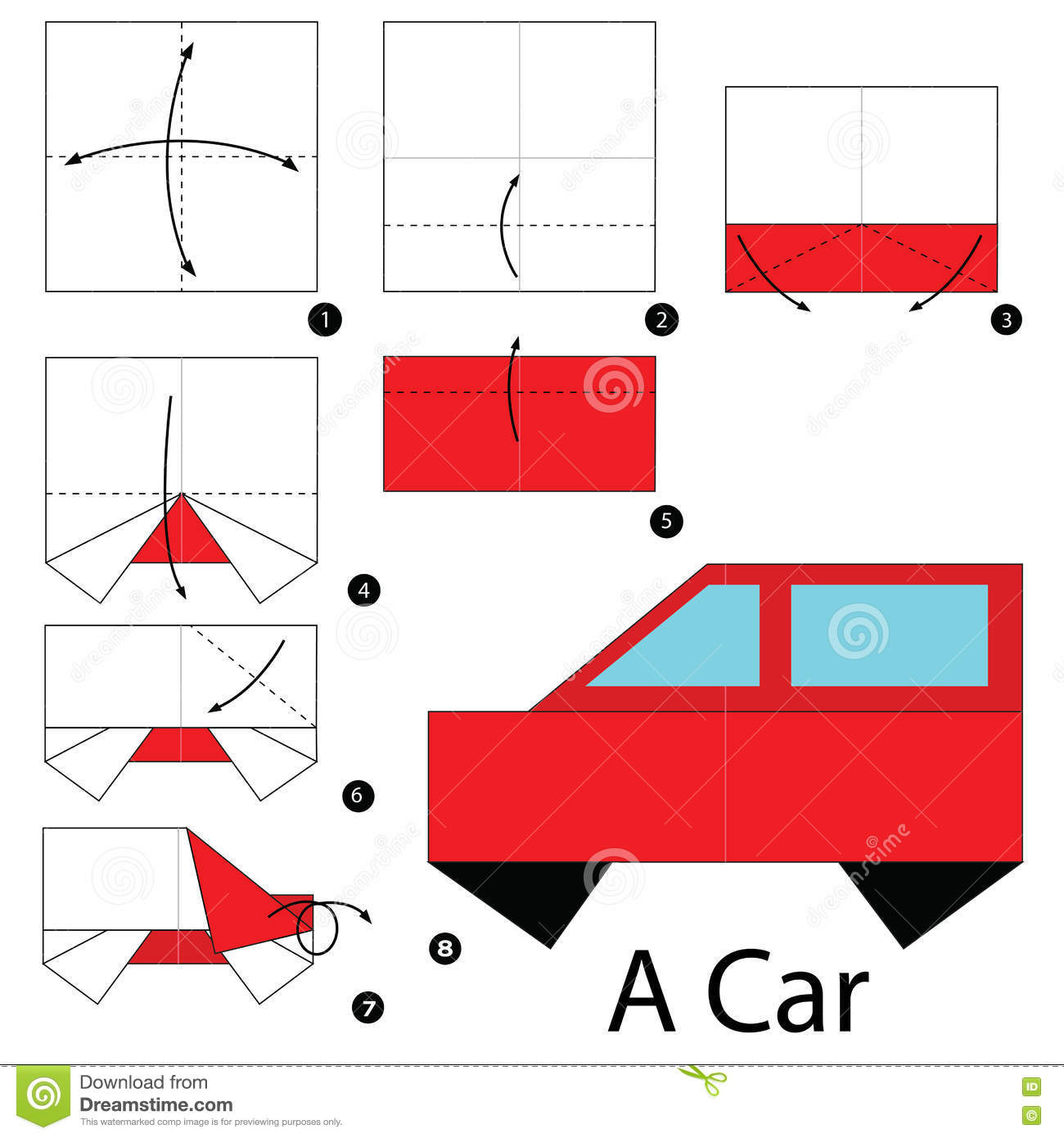 Step by step instructions how to make origami a car stock vector step by step instructions how to make origami a car jeuxipadfo Choice Image
