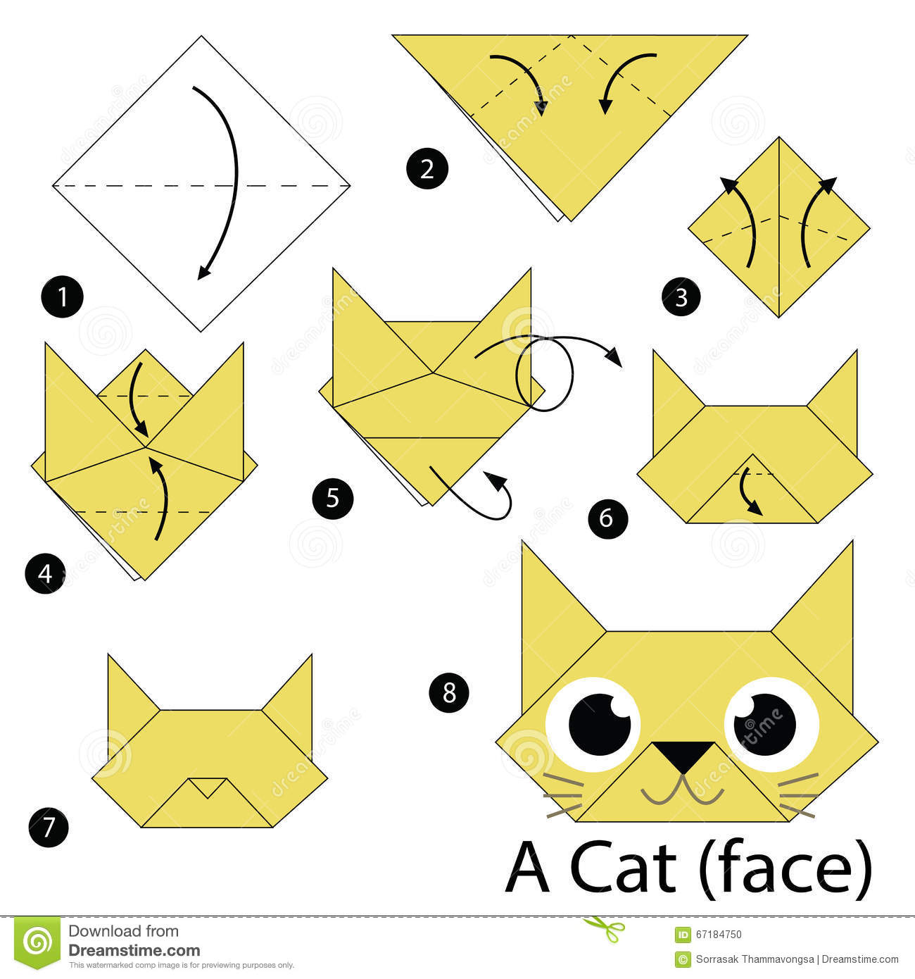 Step by step instructions how to make origami a fox stock vector step by step instructions how to make origami a cat stock photo jeuxipadfo Gallery