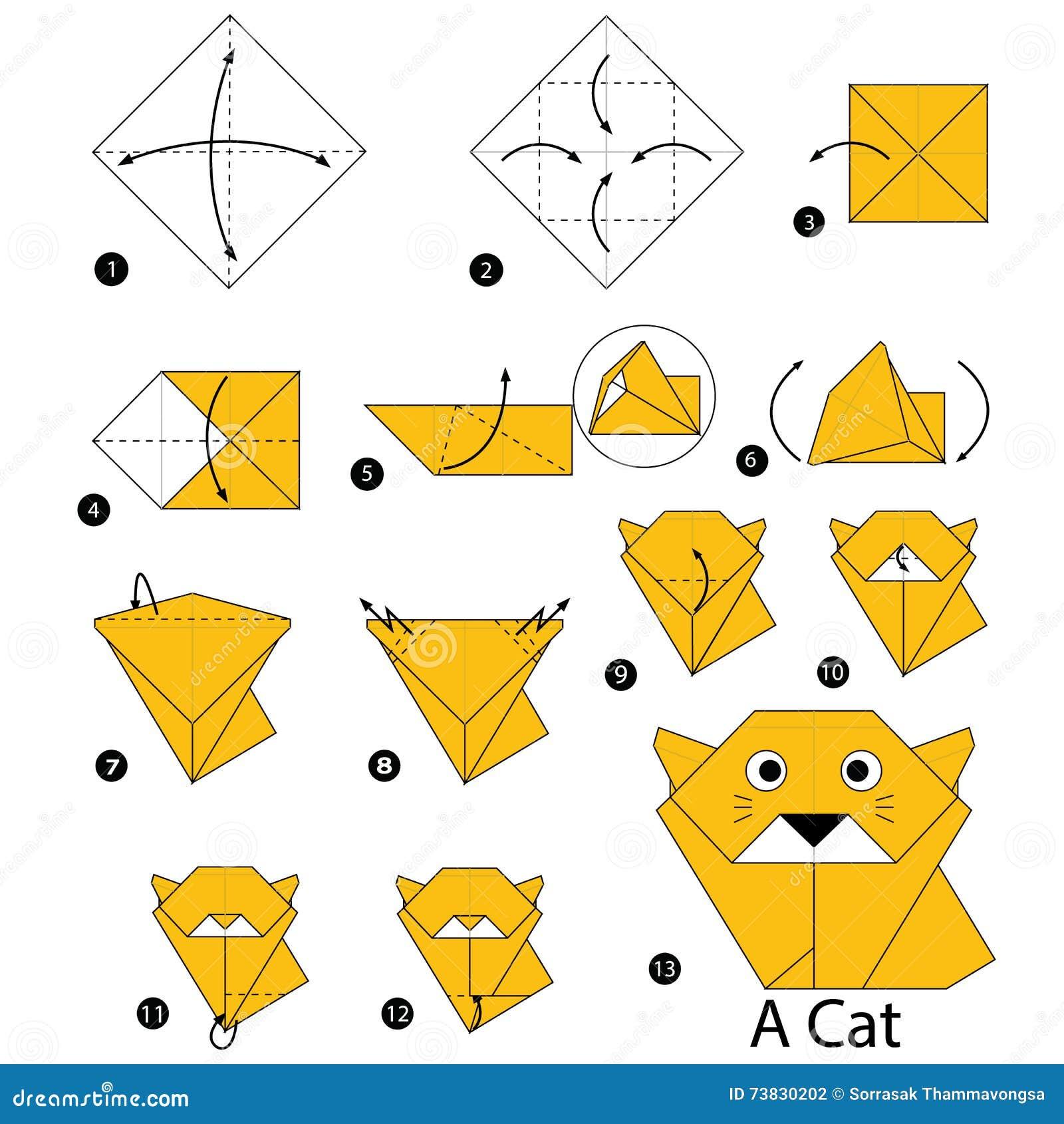 Кошка модульные оригами со схемами