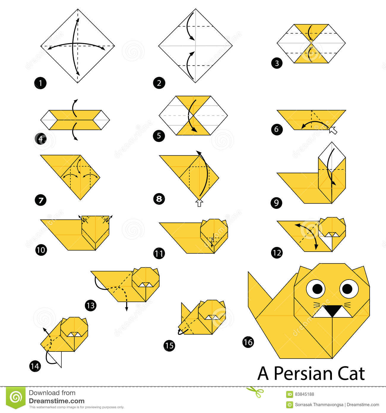 How to make Origami Cat | Easy Origami Cat Tutorial (2018) - YouTube | 1390x1300