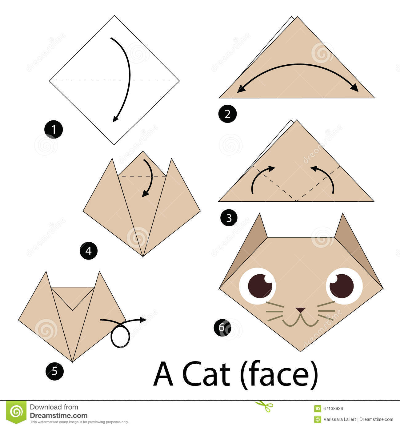 Step by step instructions how to make origami a cat stock vector step by step instructions how to make origami a cat royalty free stock image jeuxipadfo Gallery
