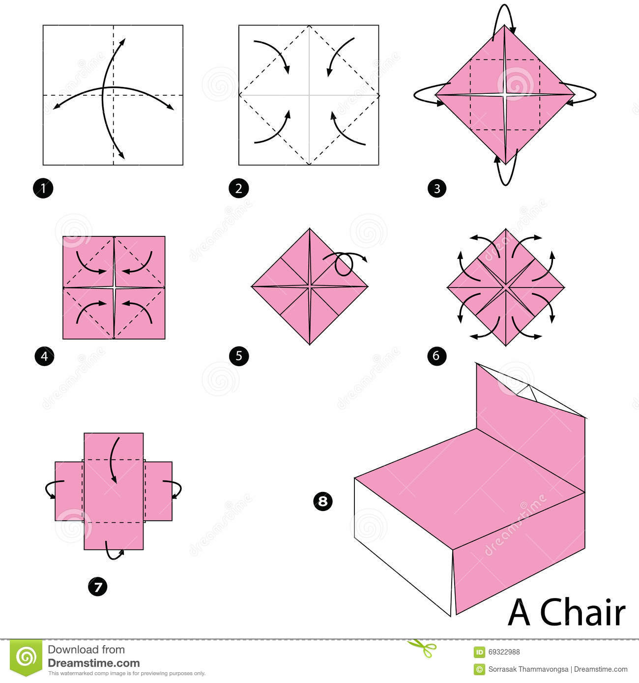 Step By Step Instructions How To Make Origami A Chair ... - photo#39