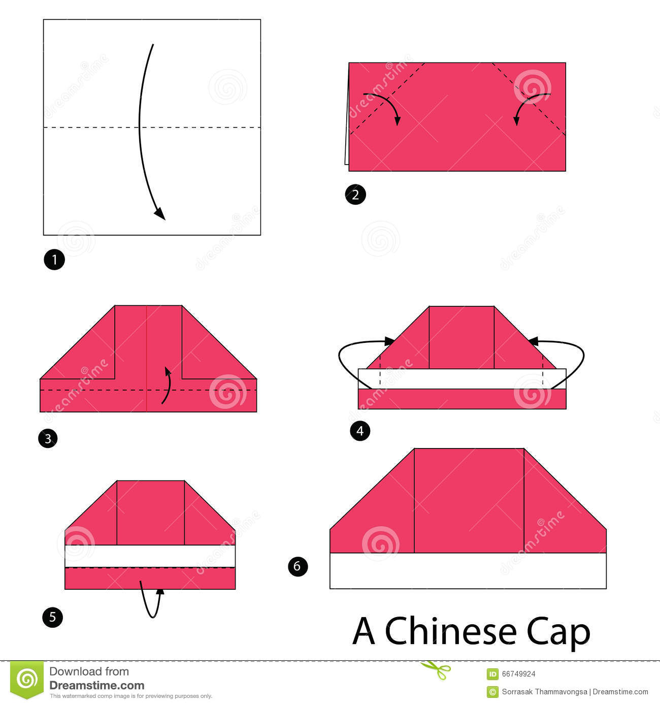 Step By Instructions How To Make Origami A Chinese Cap Stock