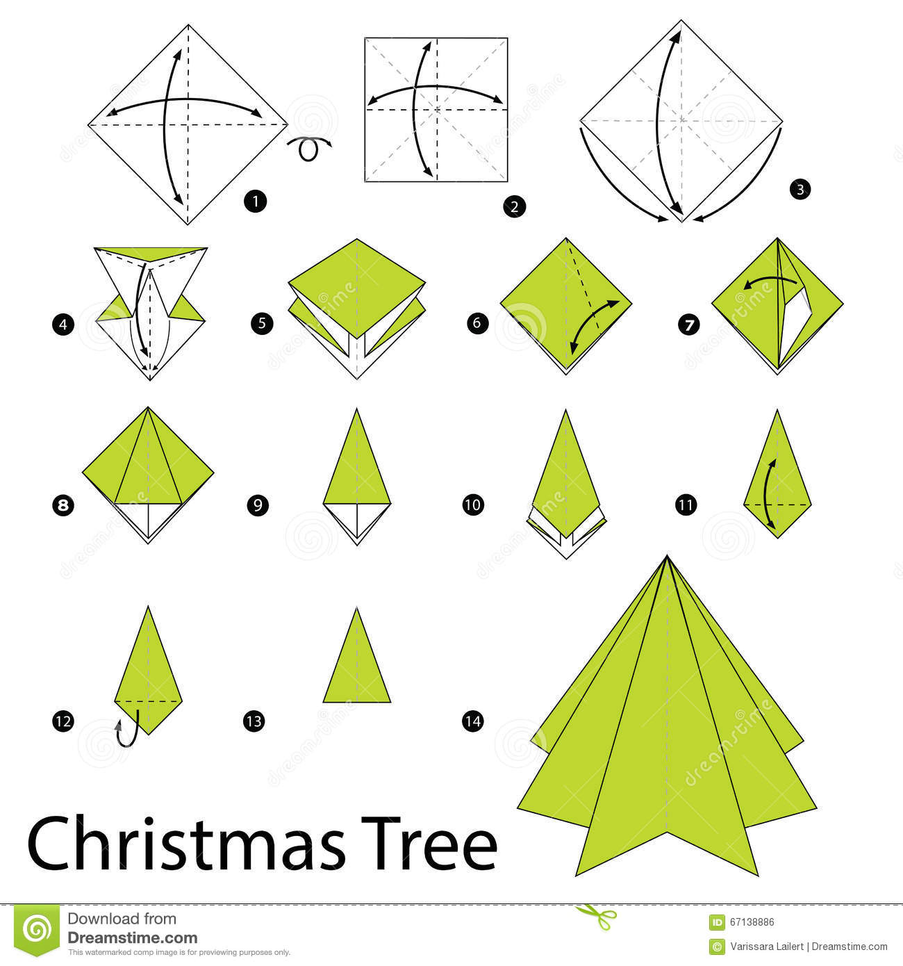 Origami folding instructions how to make a christmas tree.