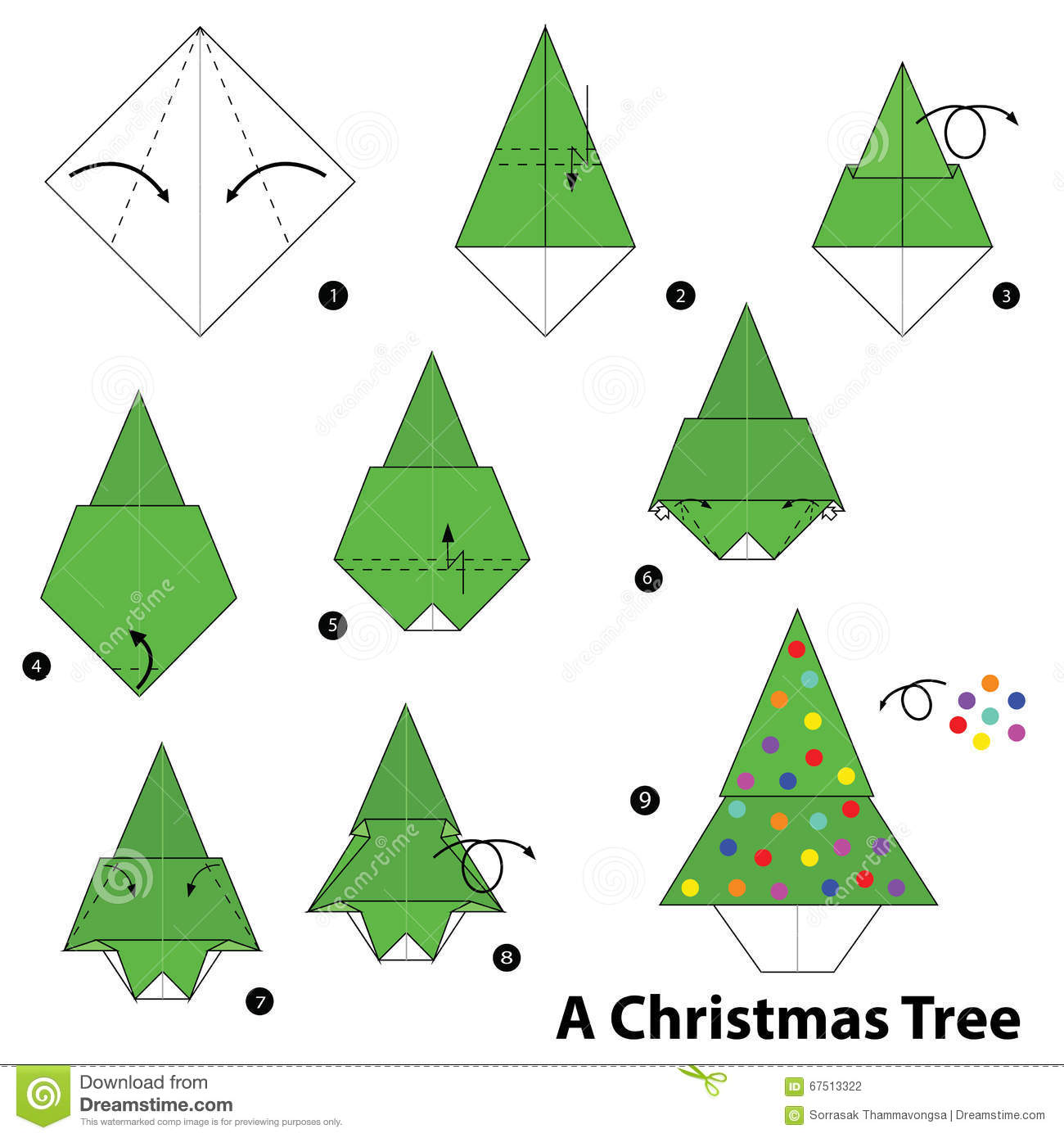 Origami CHRISTMAS TREE  Easy Folding Instructions for Kids