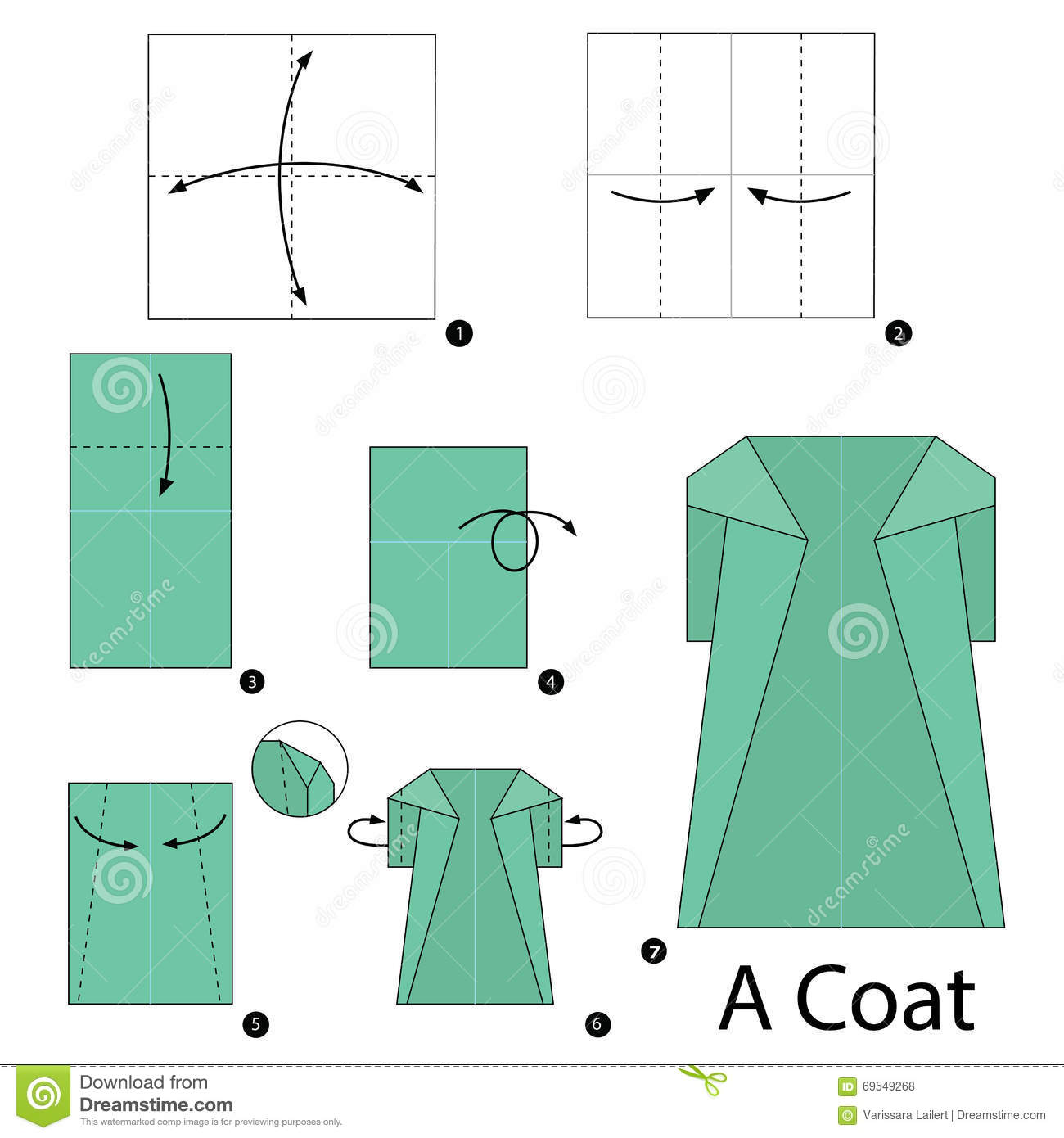 Download Step By Instructions How To Make Origami A Coat Stock Vector