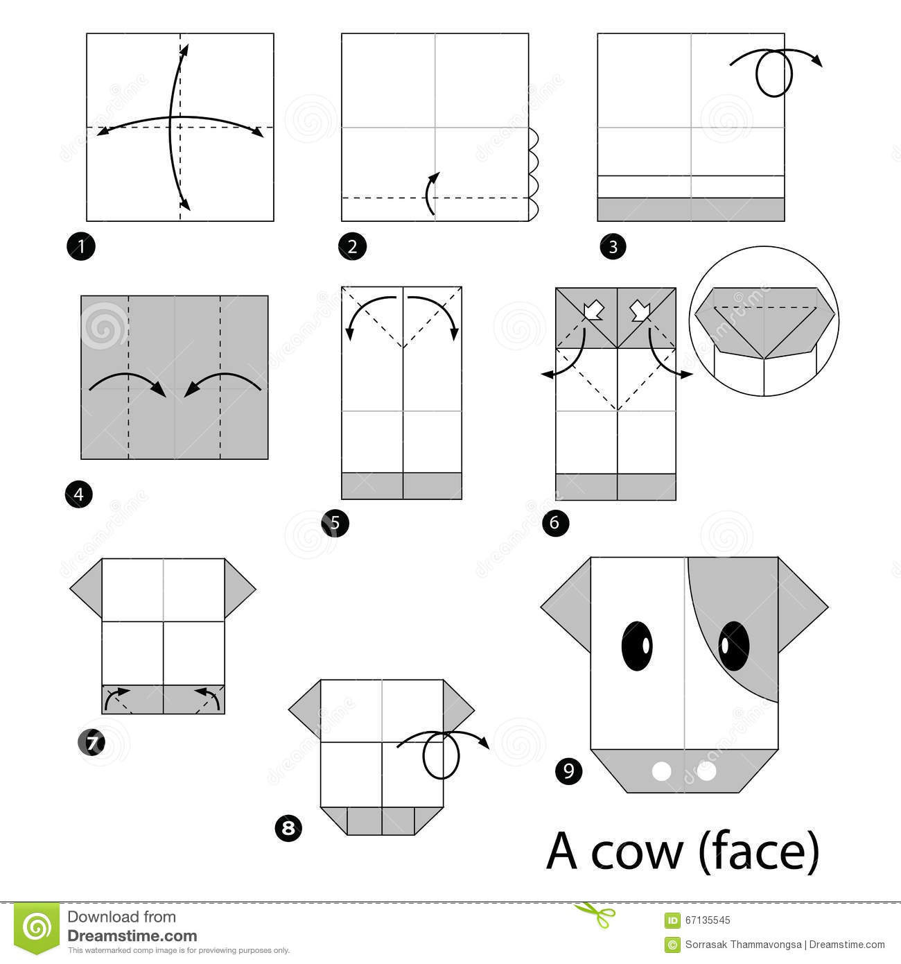 Step By Instructions How To Make Origami Cow Stock Vector