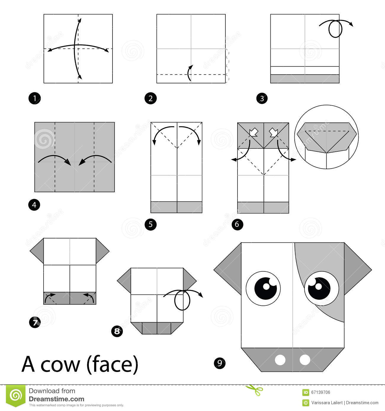 Step By Instructions How To Make Origami A Cow Royalty Free Stock Image