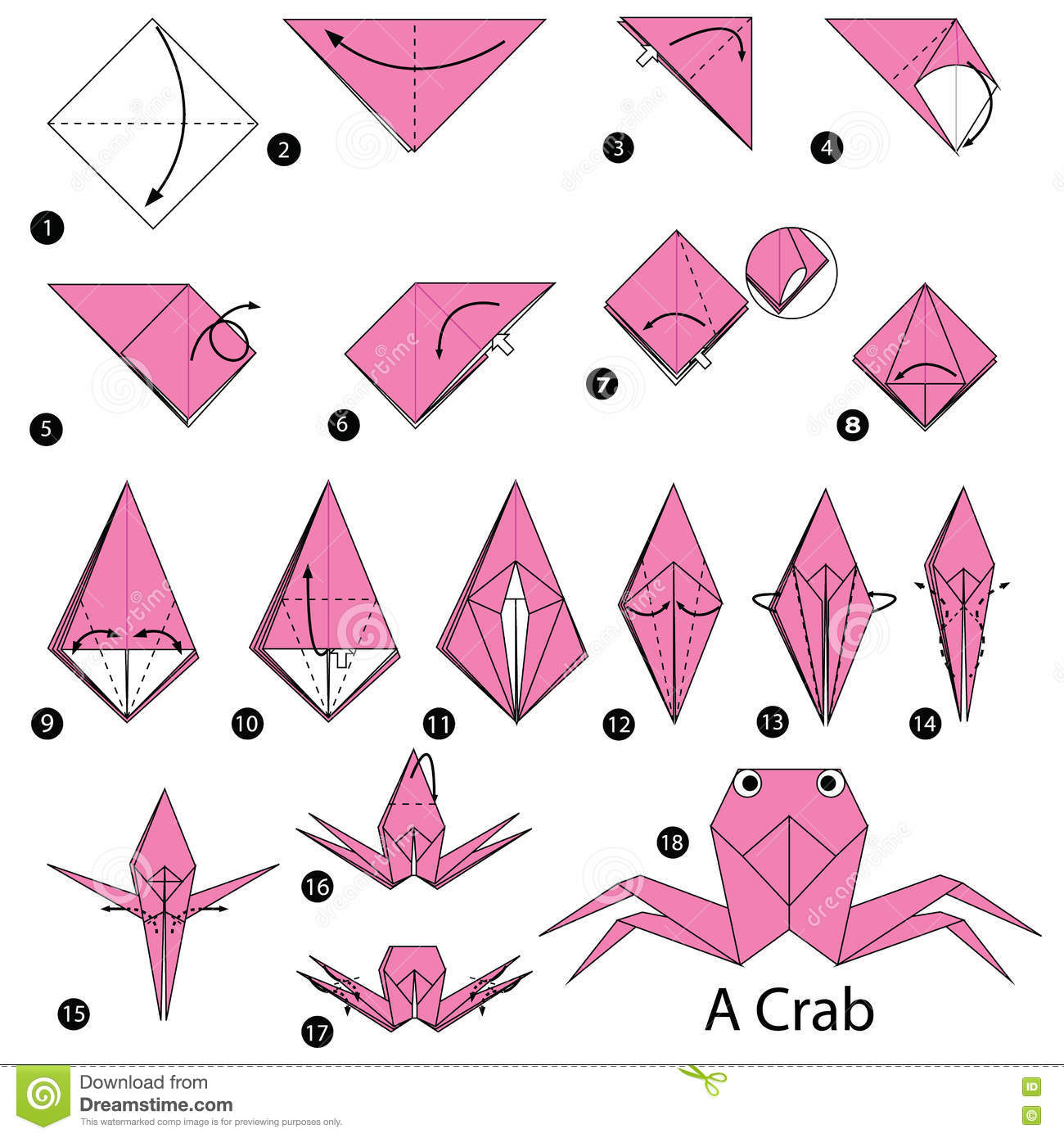 step by step instructions how to make origami a crab