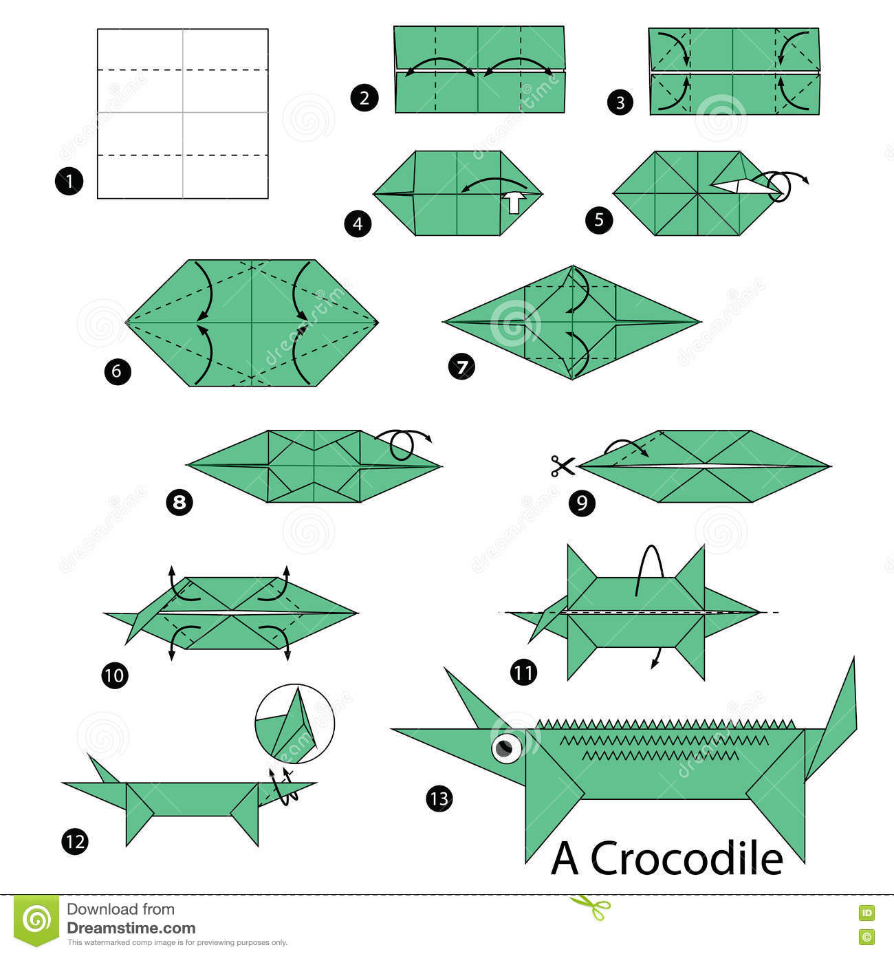 Step By Step Instructions How To Make Origami A Crocodile