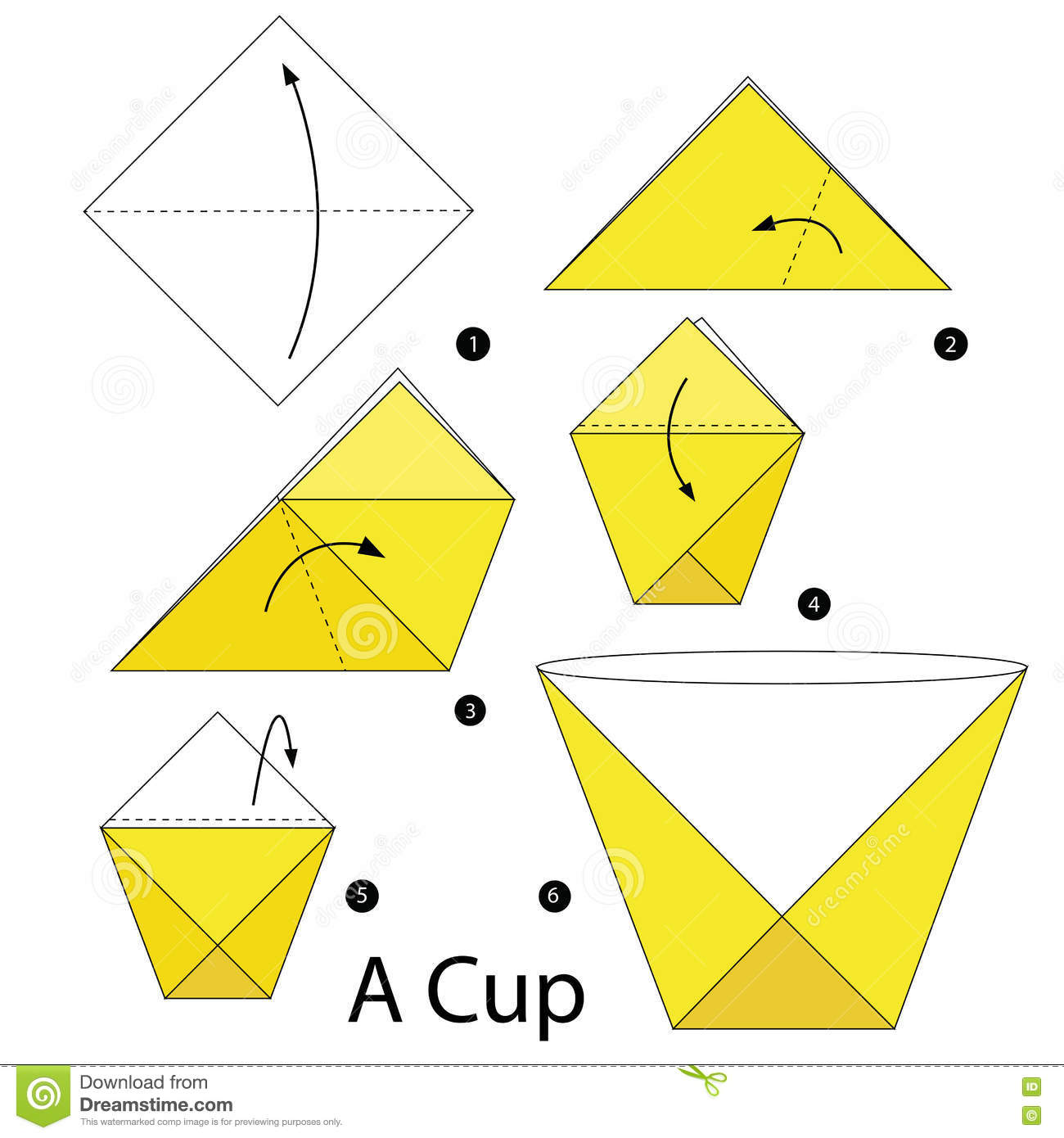 Step By Instructions How To Make Origami A Cup Stock Vector