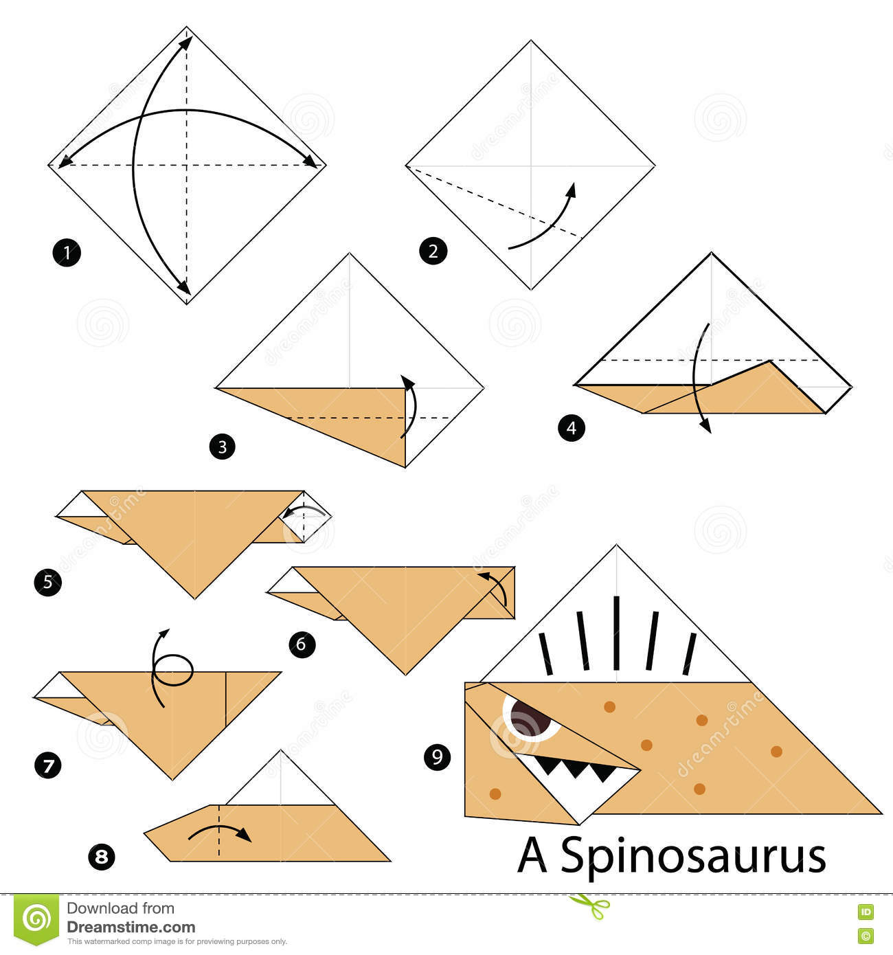 step by step instructions how to make origami a dinosaur stock vector image 71539414. Black Bedroom Furniture Sets. Home Design Ideas