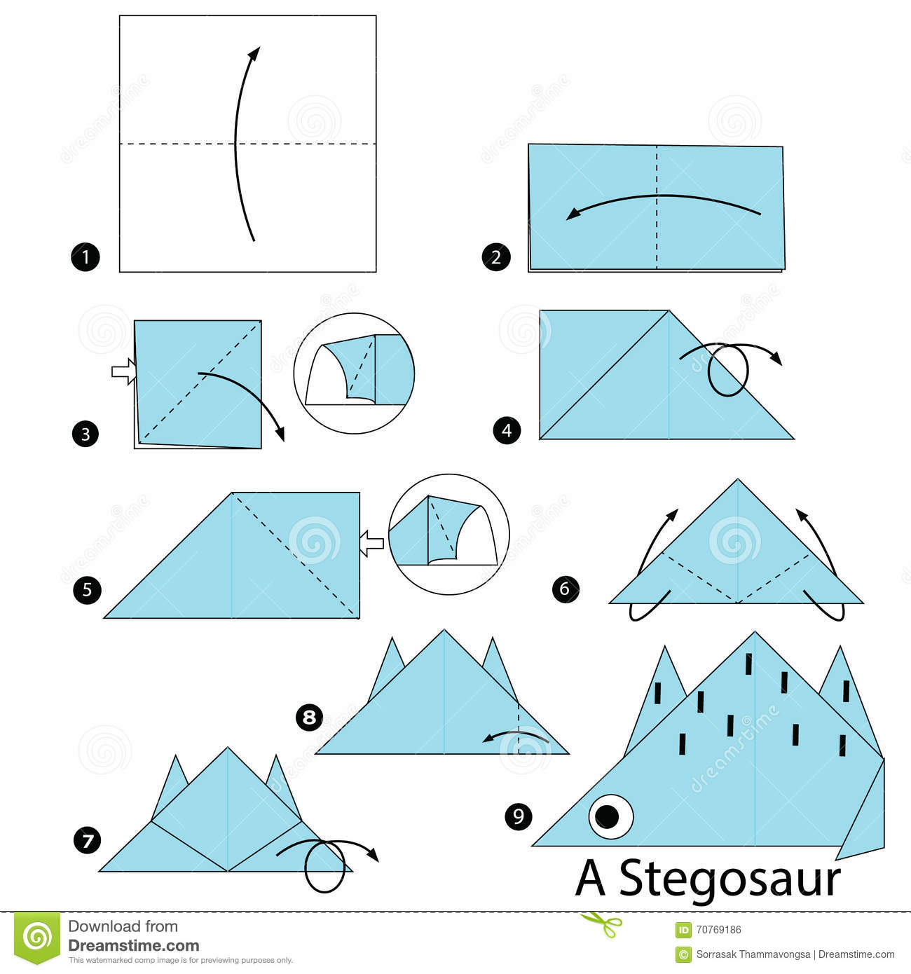 Download Step By Instructions How To Make Origami A Dinosaur Stock Vector