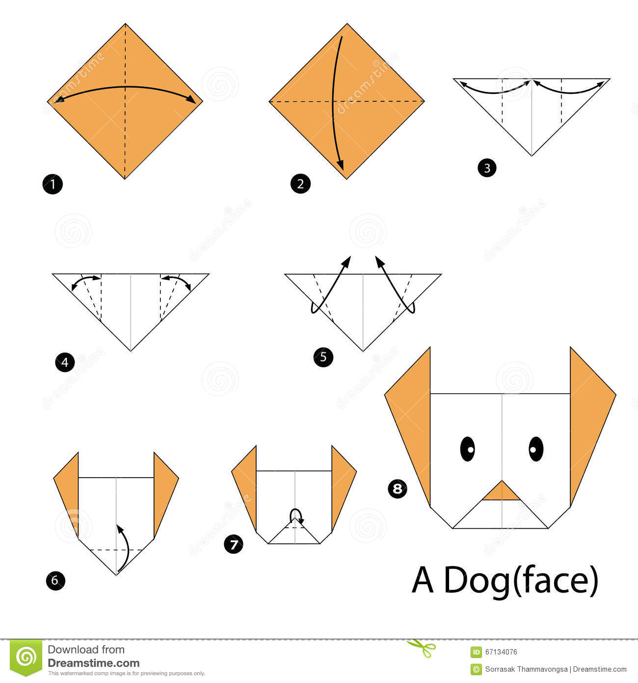 Origami dog face how to origami - Step By Step Instructions How To Make Origami A Dog Royalty Free Stock Image
