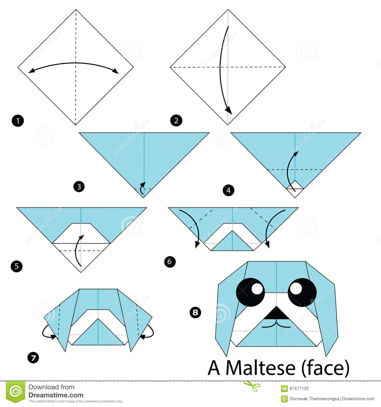 Origami dog face how to origami - Animal Dog Origami