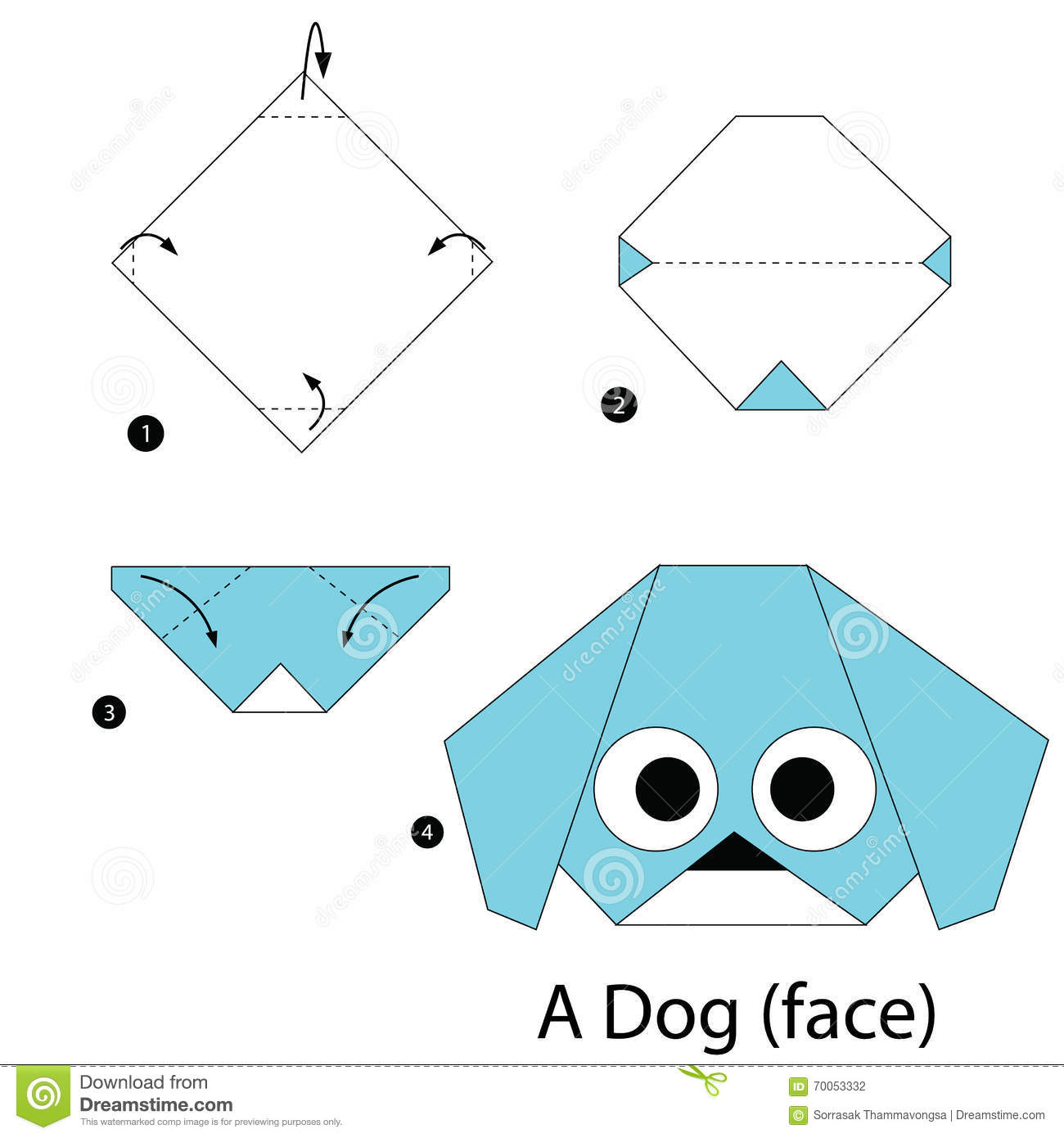 DIY How to Make An Easy Paper DOG. Origami Tutorial for Kids and ... | 1390x1300