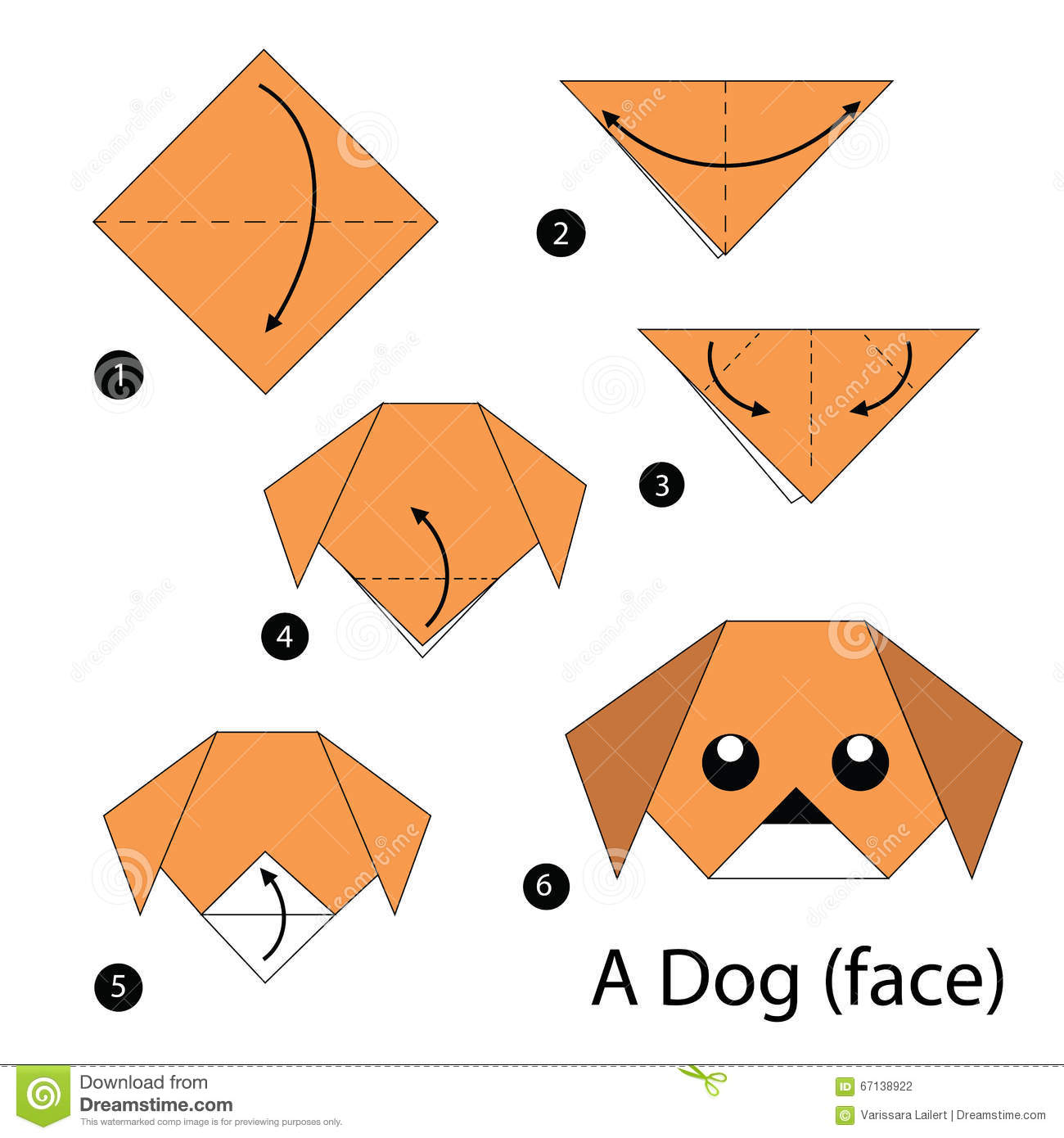 Origami dog face how to origami - Dog Face Illustration Instructions Origami