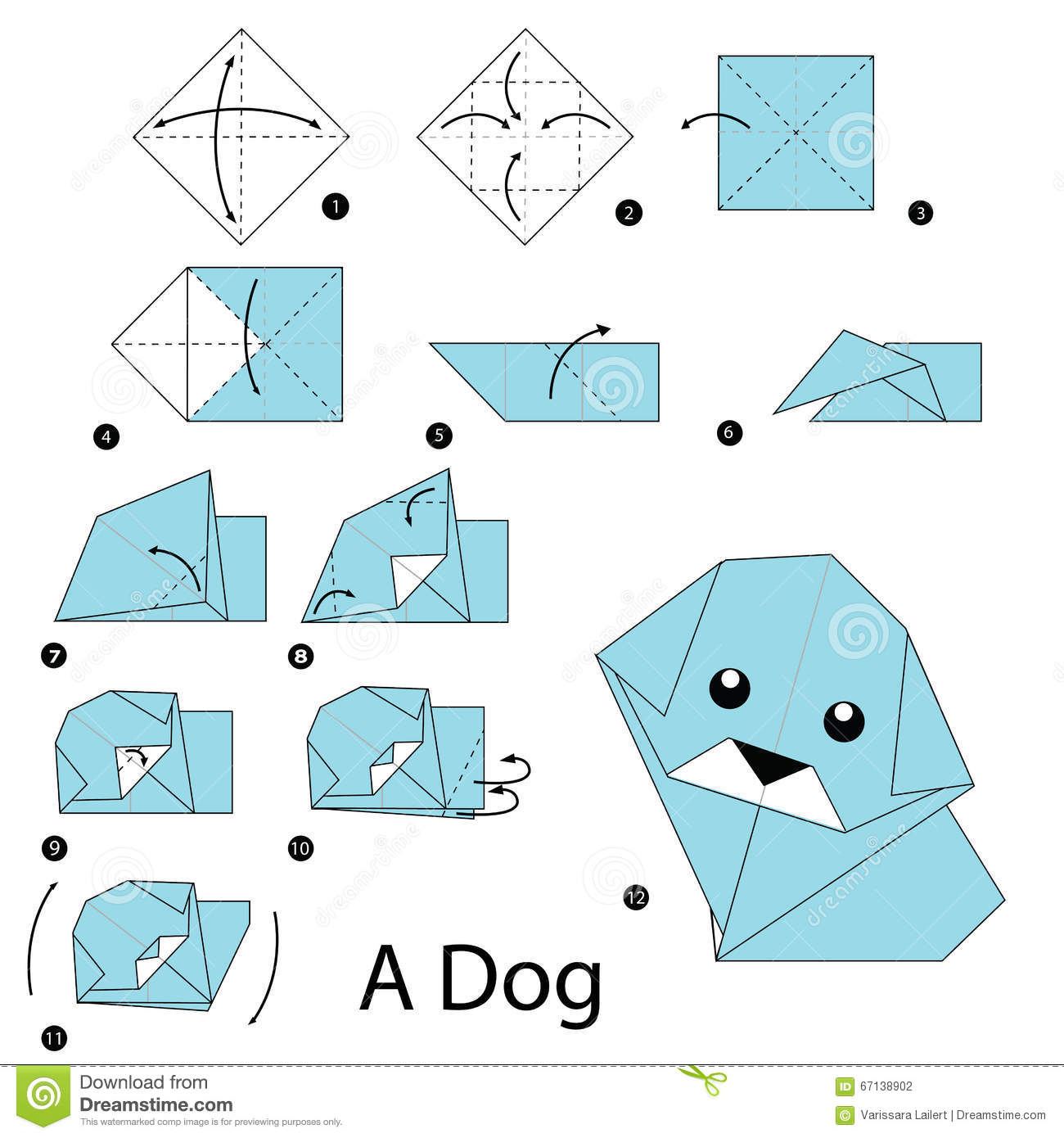 Step By Step Instructions How To Make Origami Dog. Stock ...