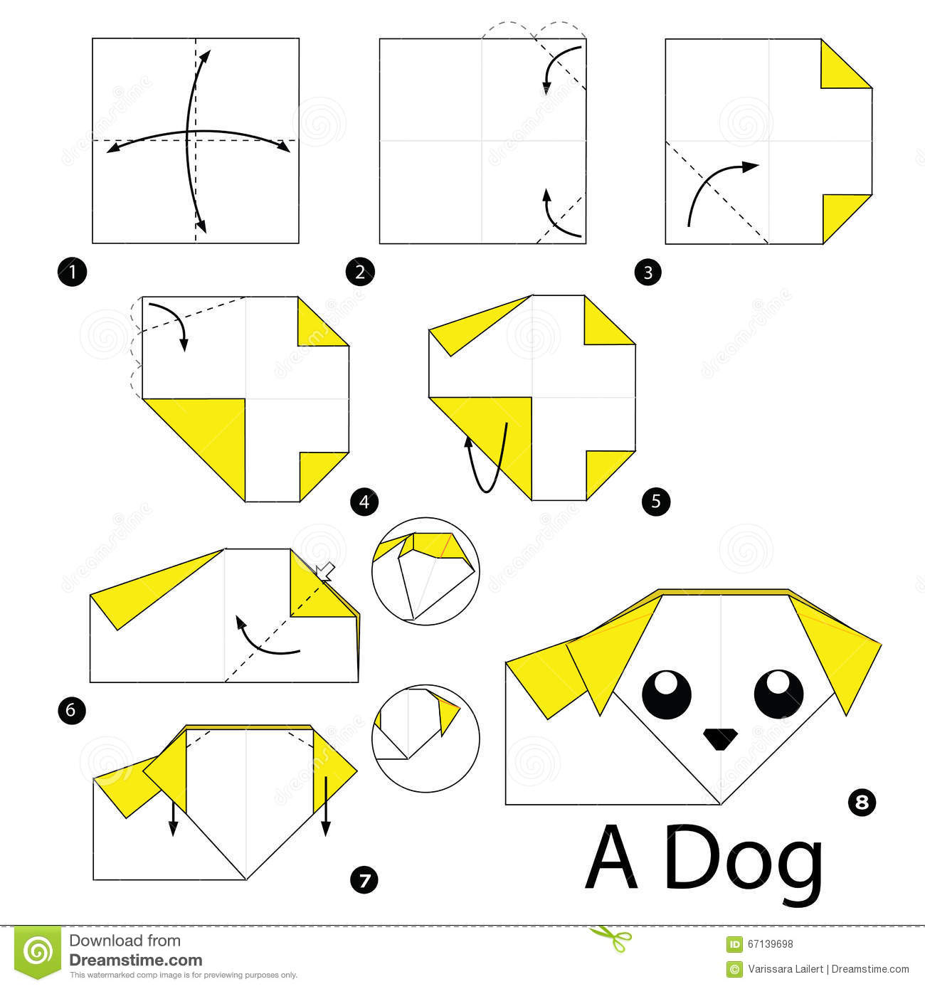 Origami dog face how to origami - Step By Step Instructions How To Make Origami A Dog Royalty Free Stock Photos