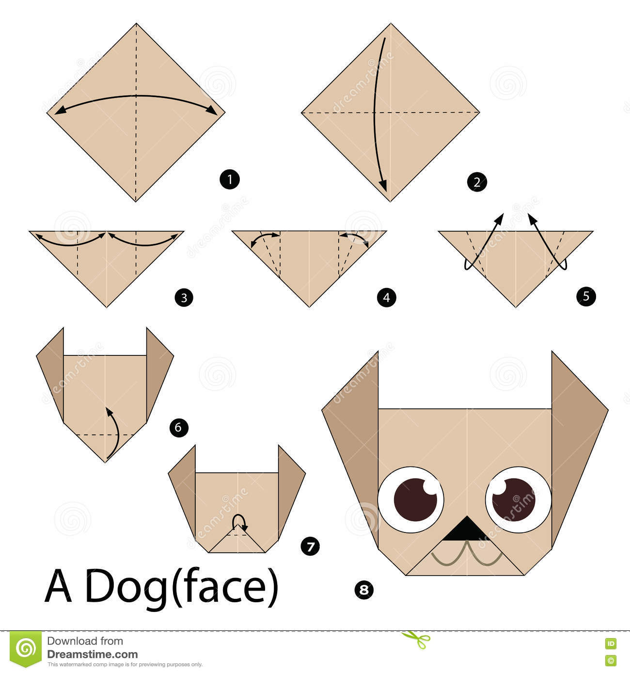 Origami dog face how to origami - Dog Illustration Instructions Origami