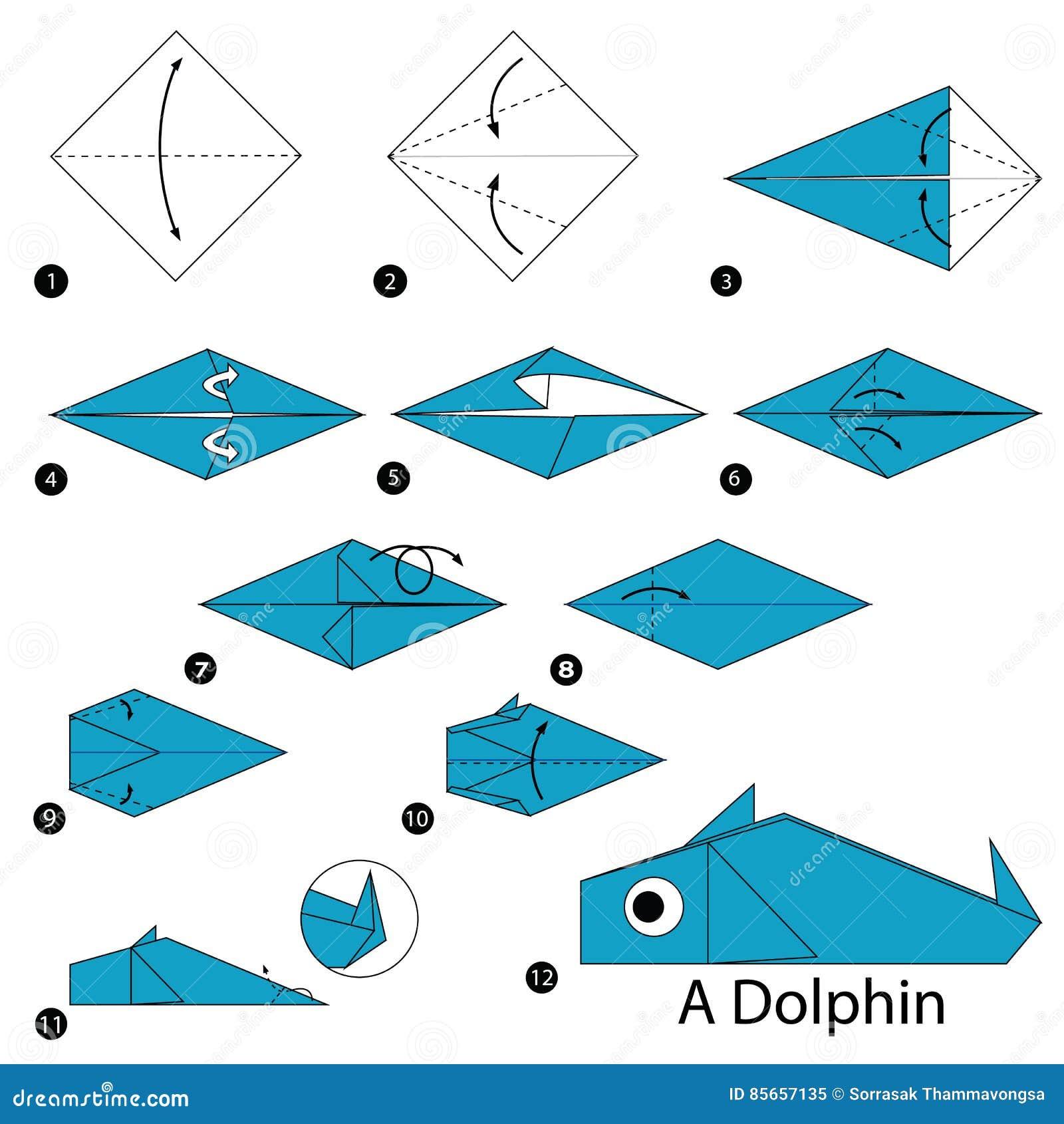 Как сделать из бумаги оригами дельфина