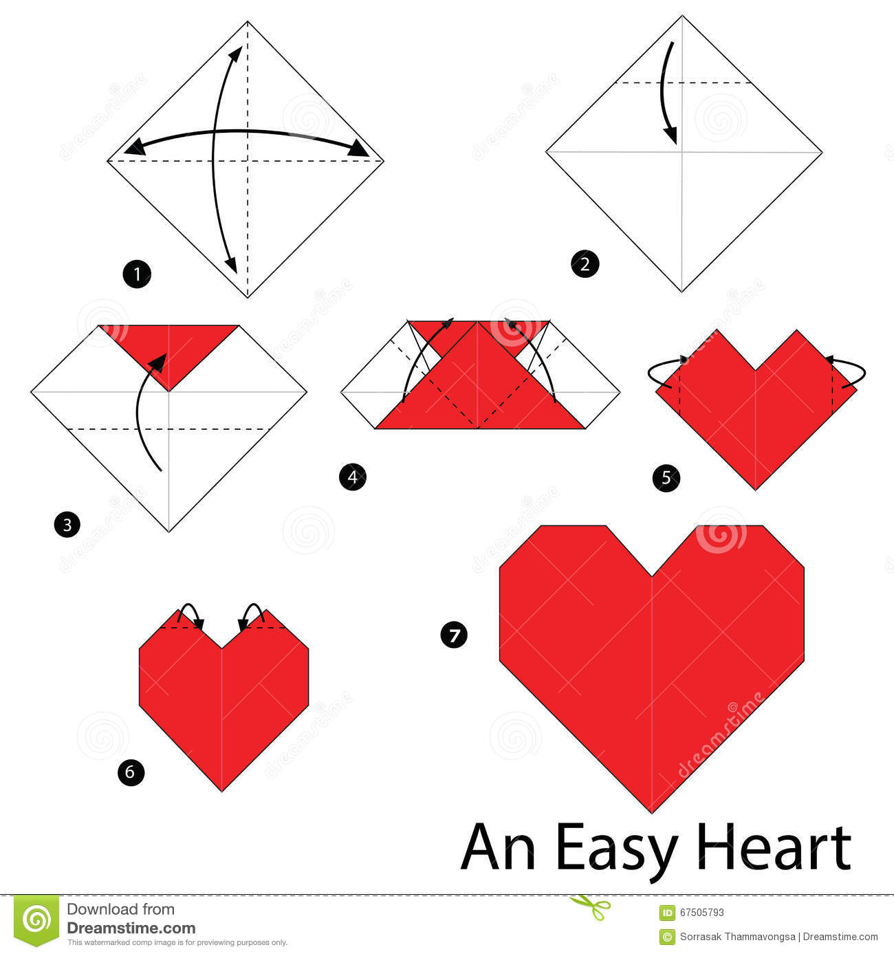 Step By Instructions How To Make Origami An Easy Heart Stock
