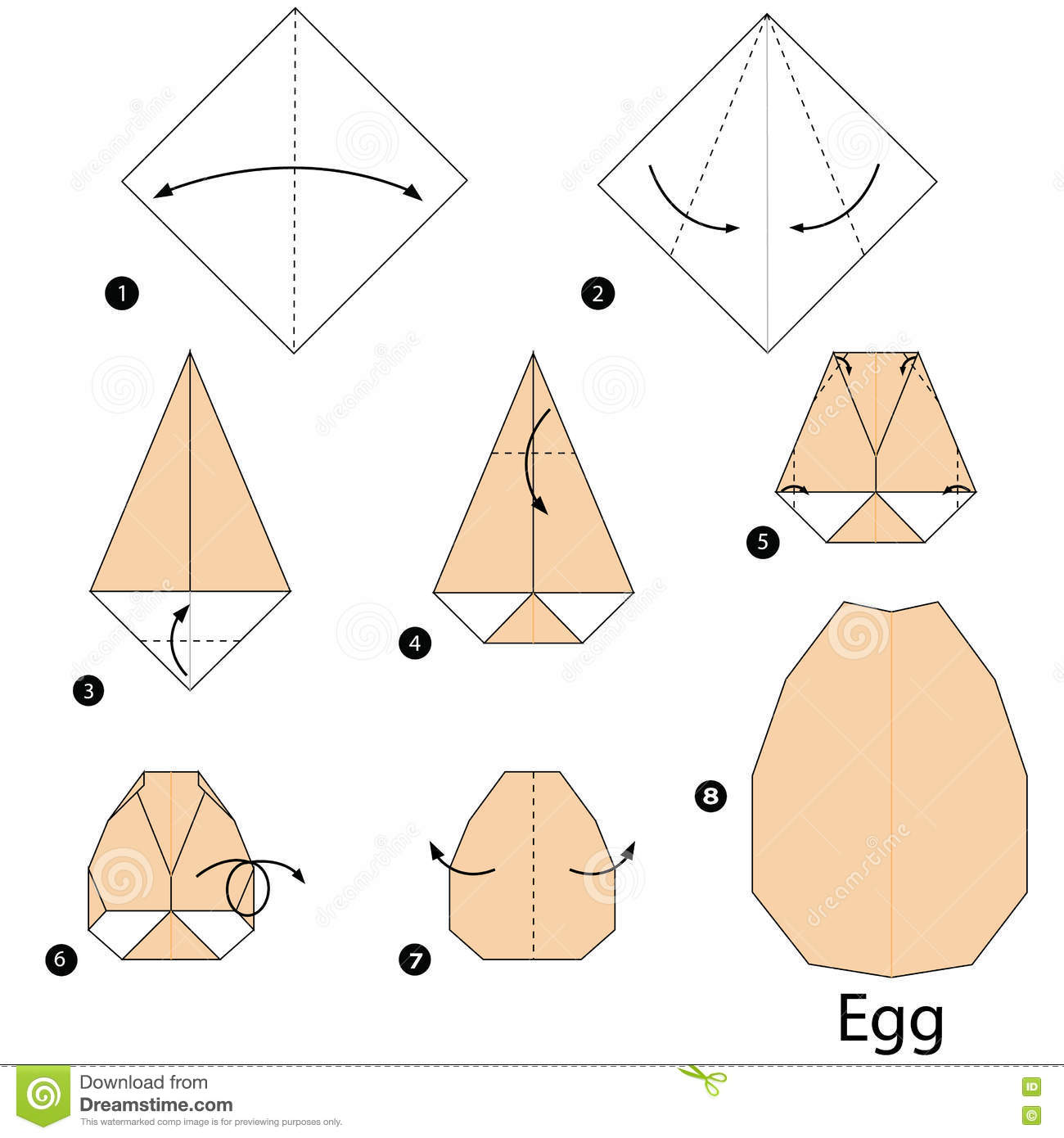 step by step instructions how to make origami egg stock