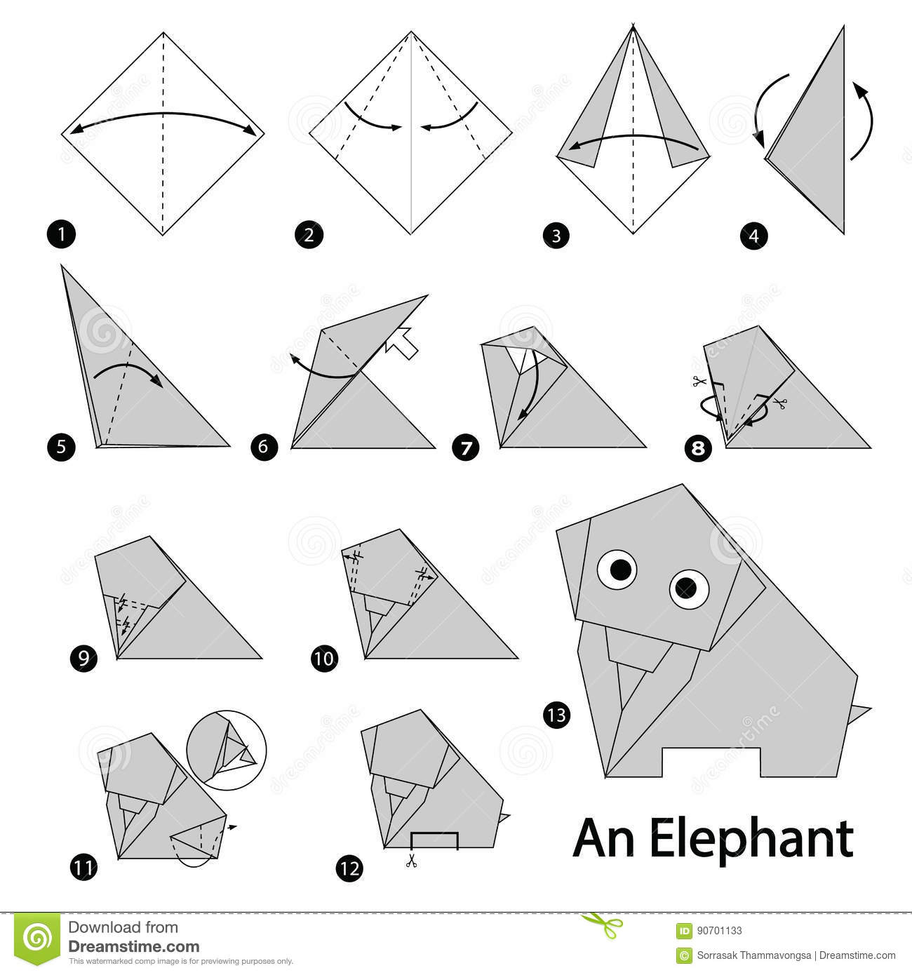 Step By Instructions How To Make Origami An Elephant Stock