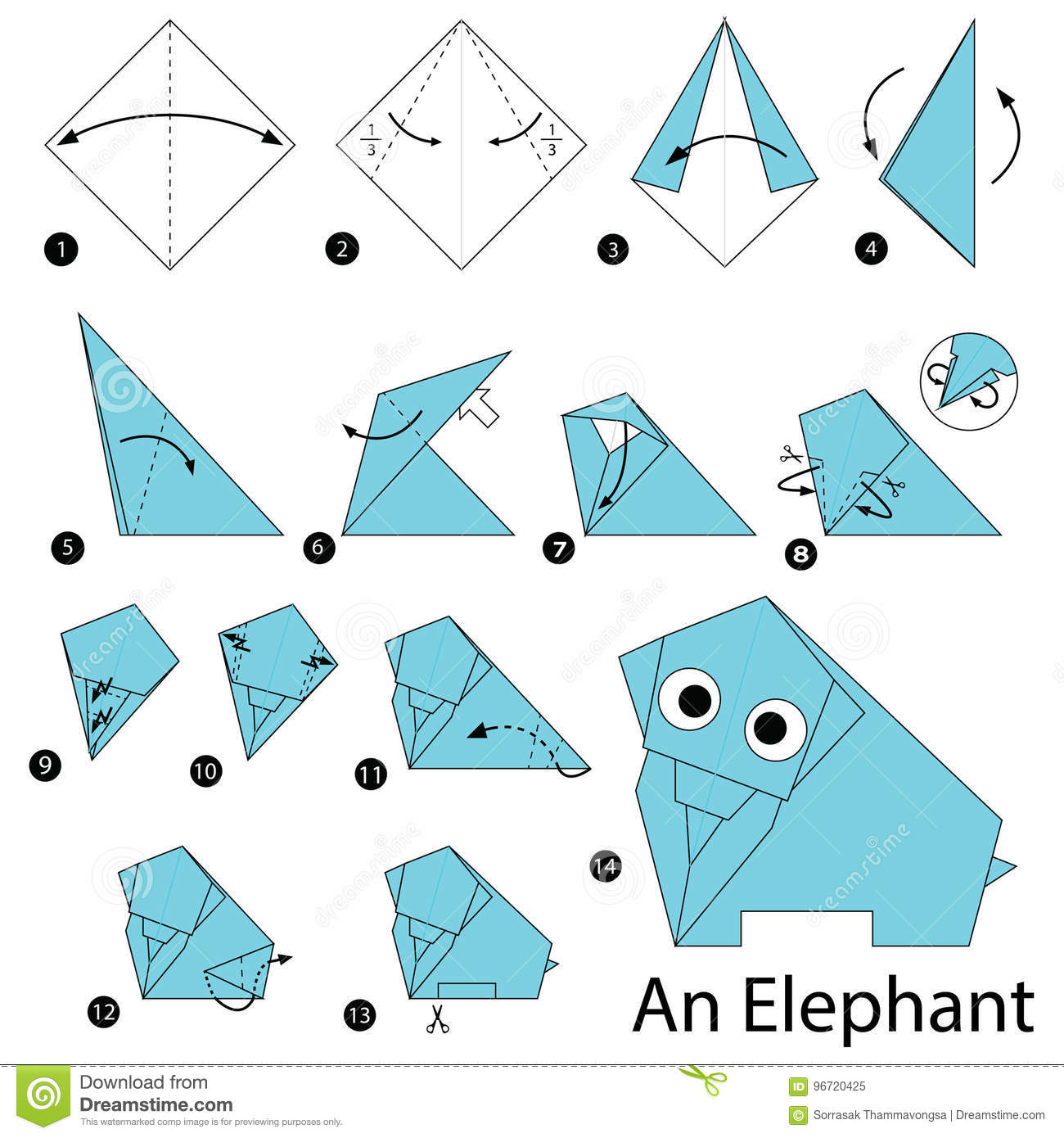 Easy Origami Elephant | Highlights for Children | 1390x1300