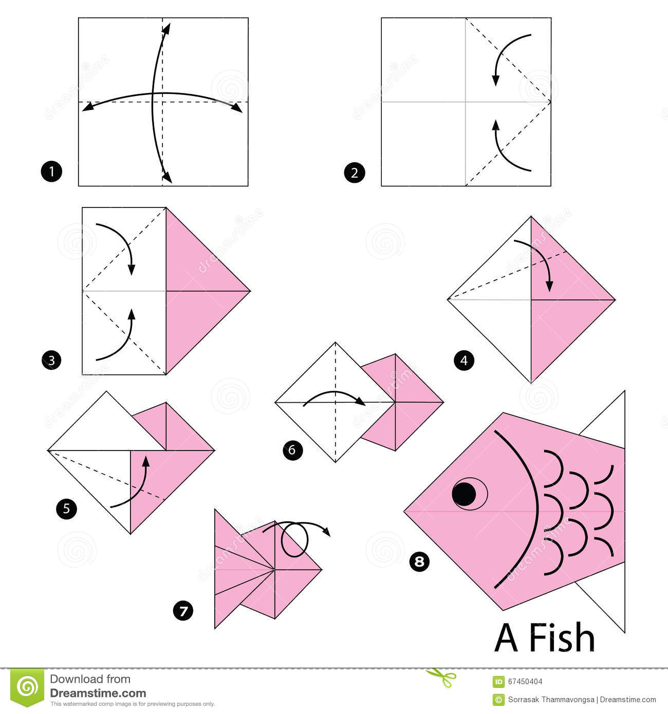 Origami fish instructions printable for How to make fish