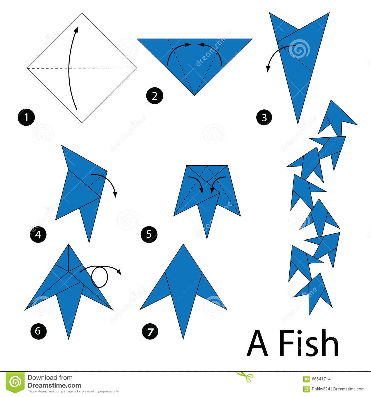 Step by step instructions how to make origami fish stock for Origami fish instructions