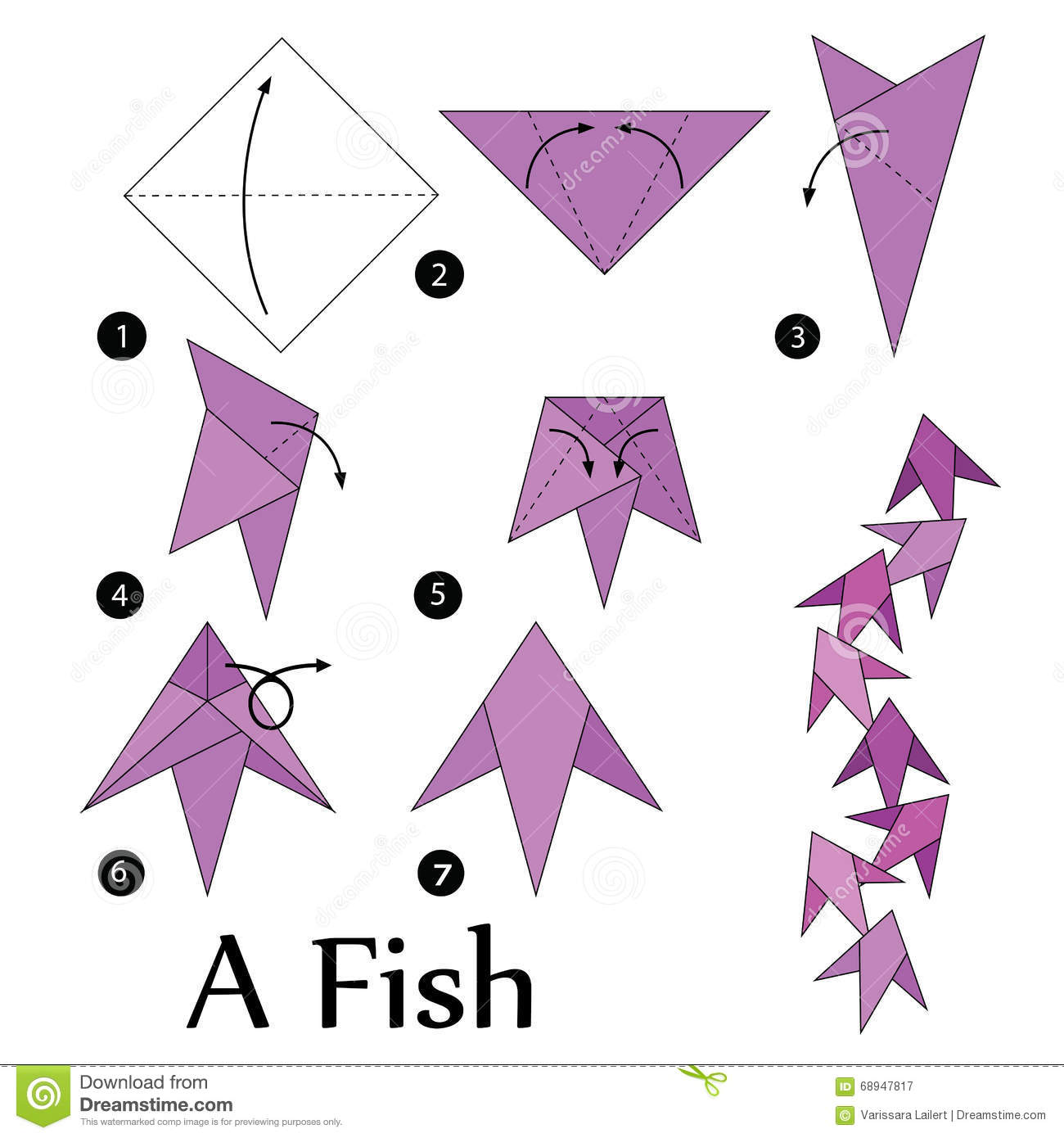Step by step instructions how to make origami a fish for Origami fish instructions