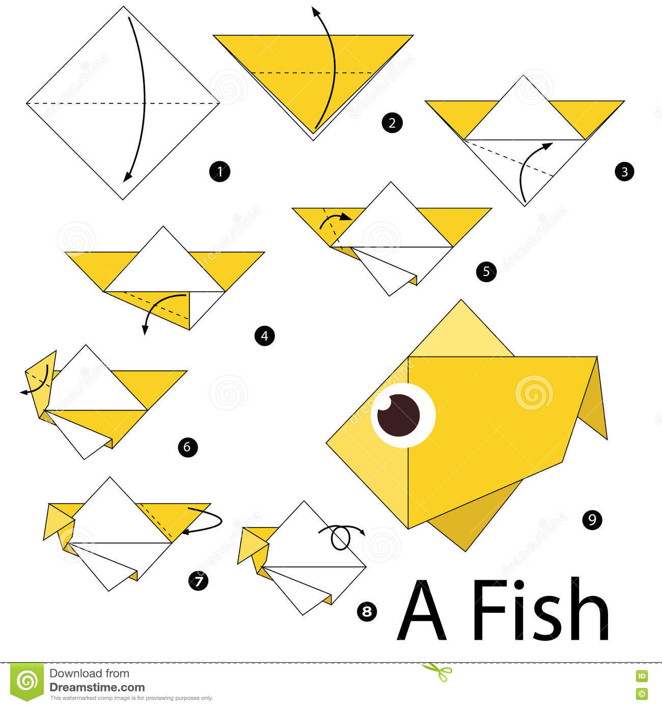 step by step instructions how to make origami a fish On how to make paper fish
