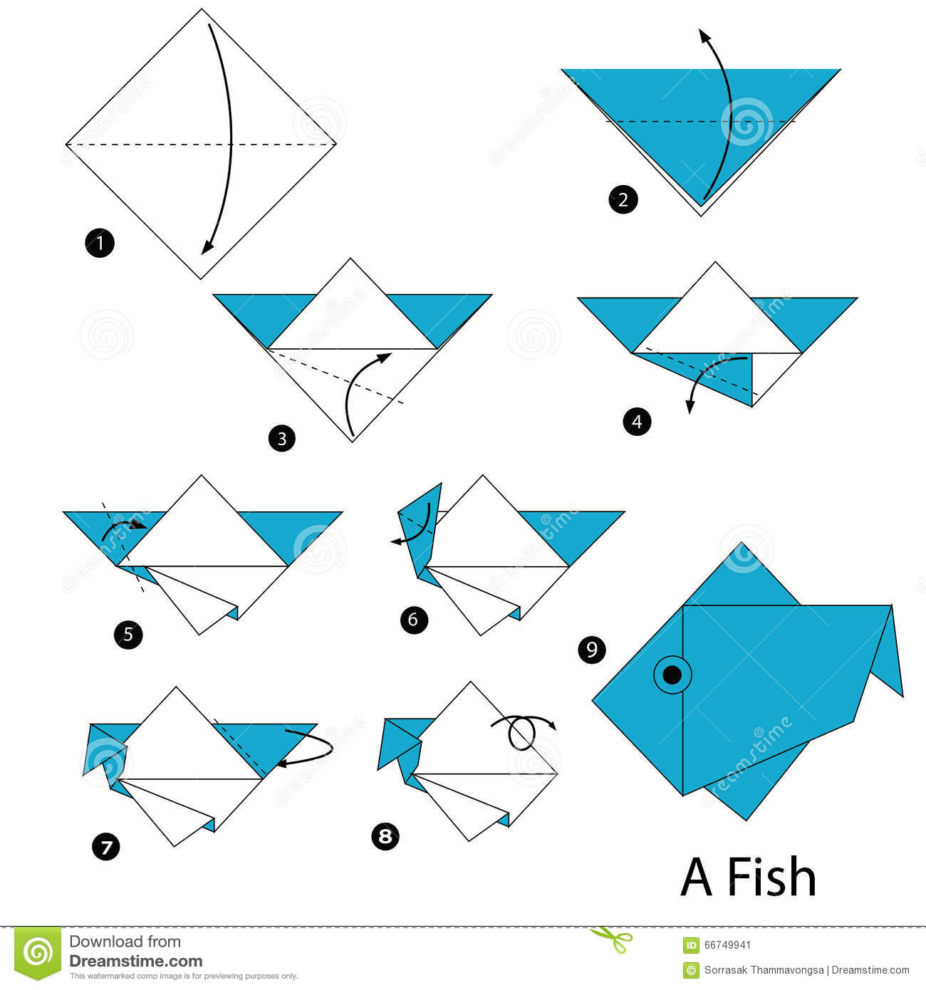 Excellent Step By Step Instructions How To Make Origami A Fish Stock Vector Short Hairstyles Gunalazisus