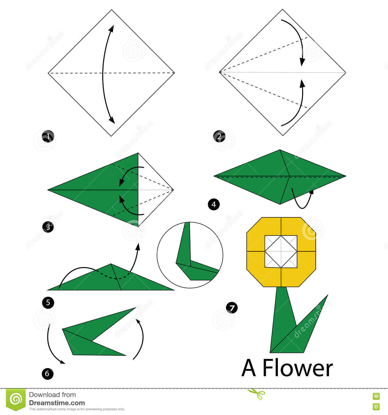 step by step instructions how to make origami a flower