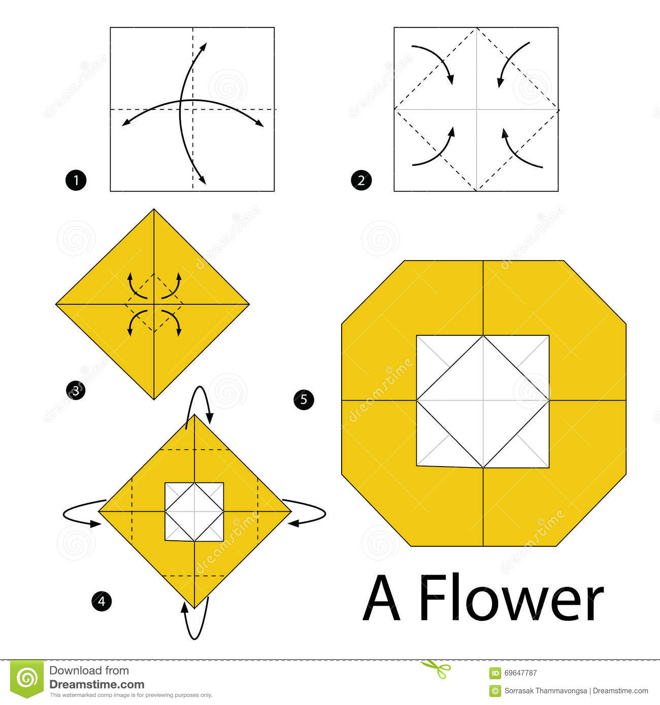 Step By Step Instructions How To Make Origami A Flower Stock Vector