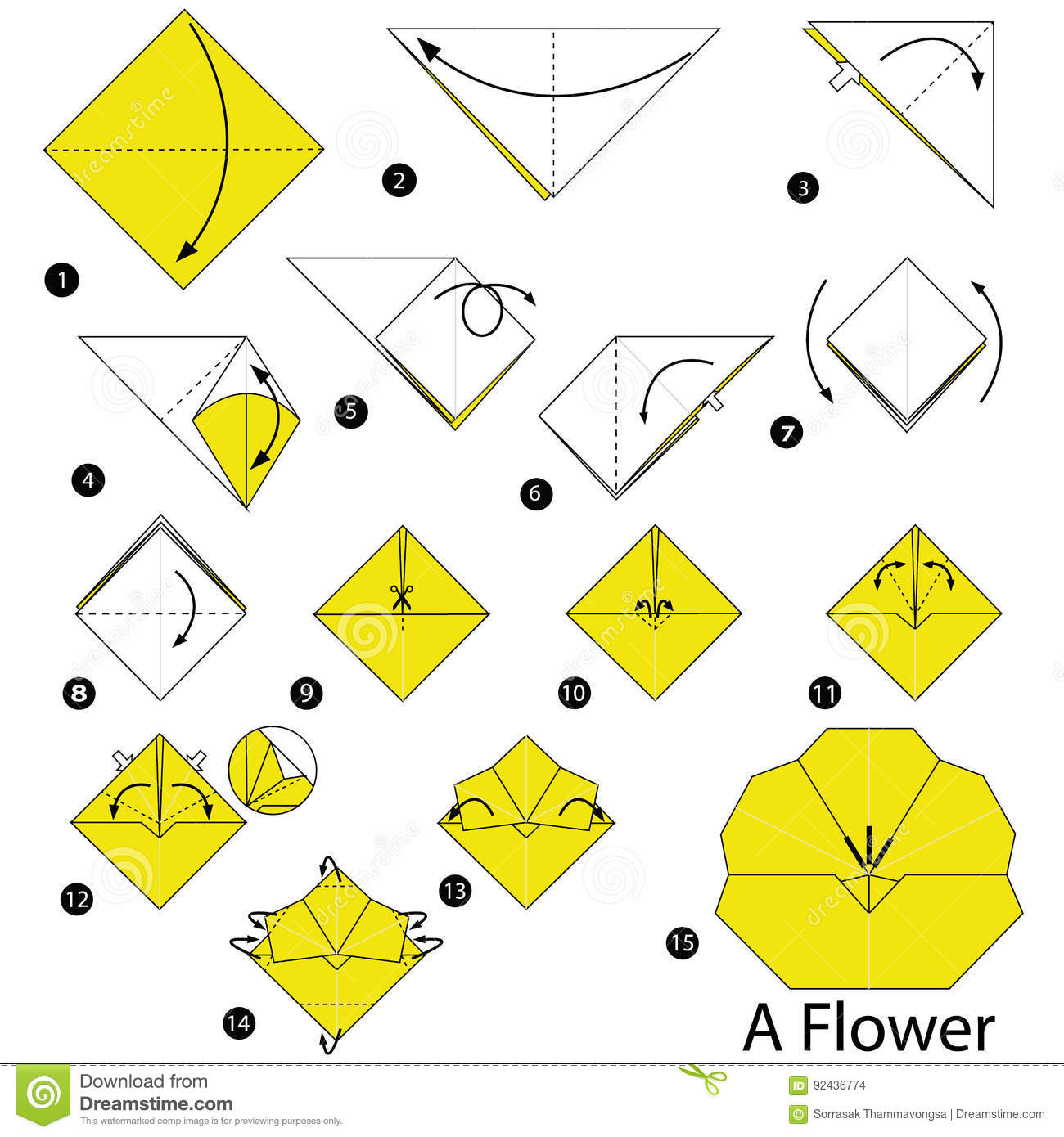 Step By Step Instructions How To Make Origami A Flower Stock ... Origami Flowers Instructions Diagram on