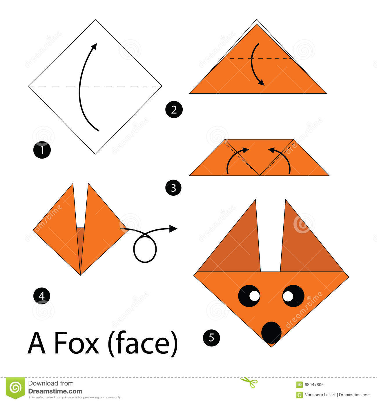 Step By Step Instructions How To Make Origami A Fox. Stock ... - photo#23