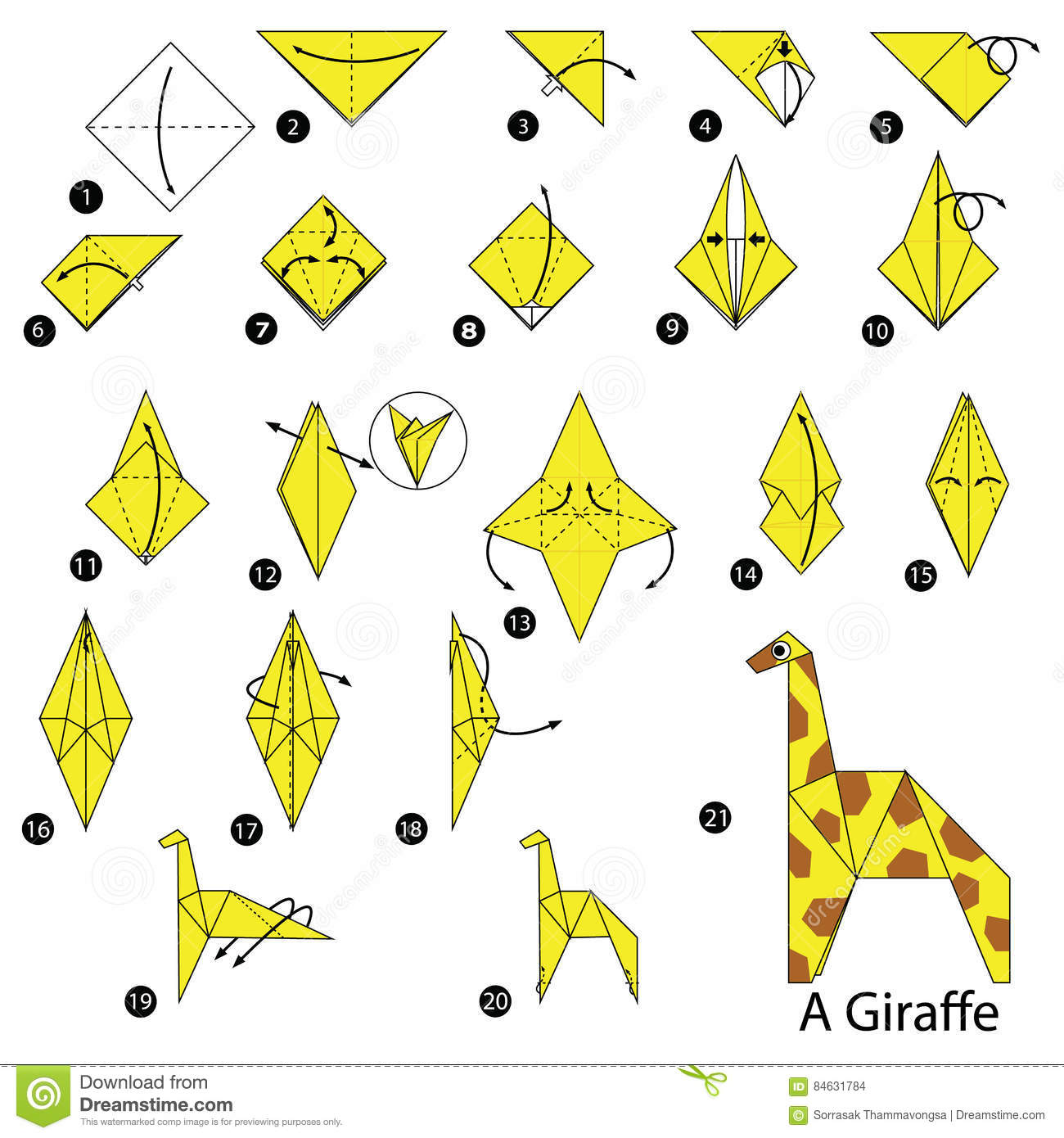 Step By Instructions How To Make Origami A Giraffe Stock