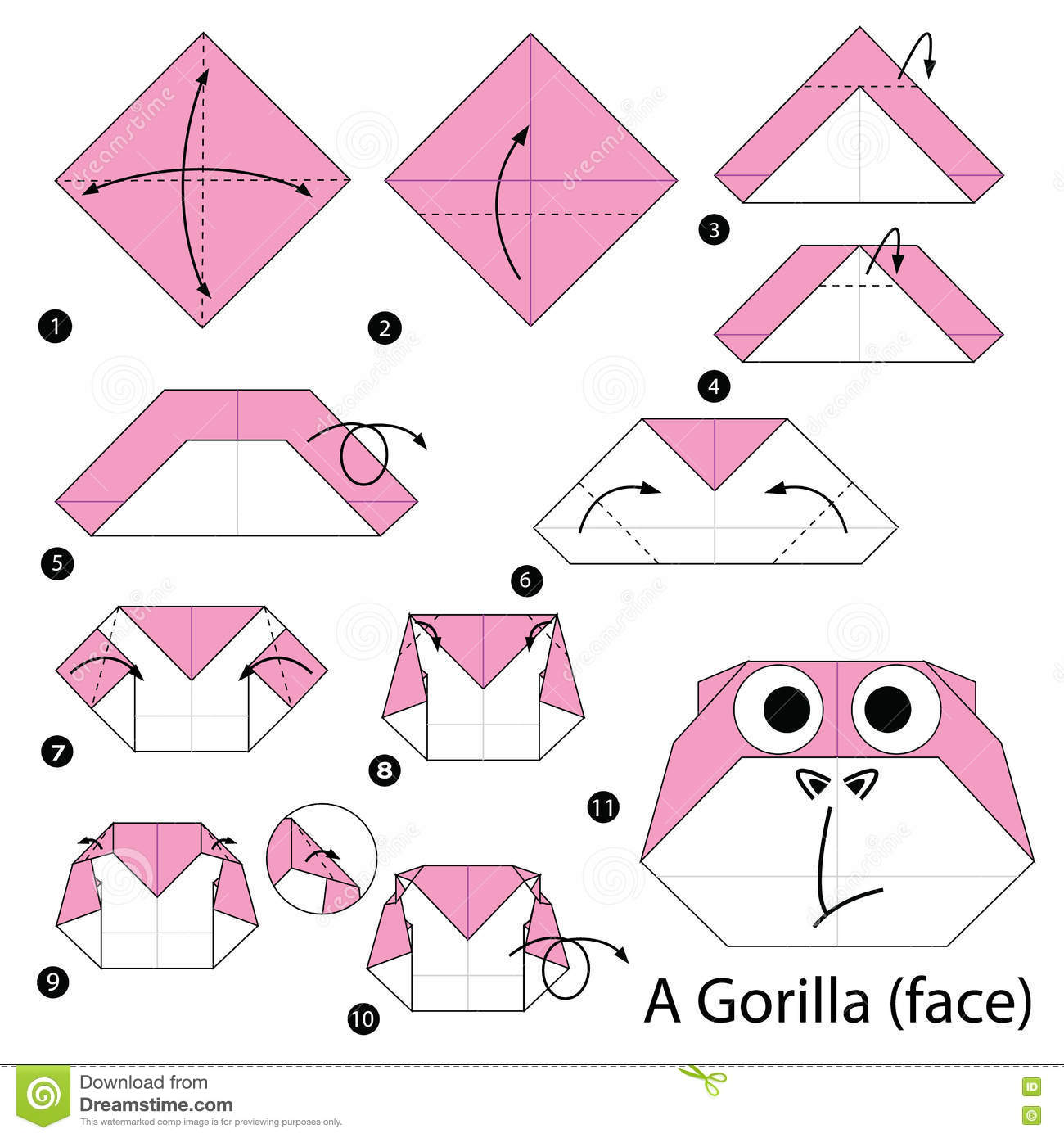 Step By Instructions How To Make Origami A Gorilla Stock Photography
