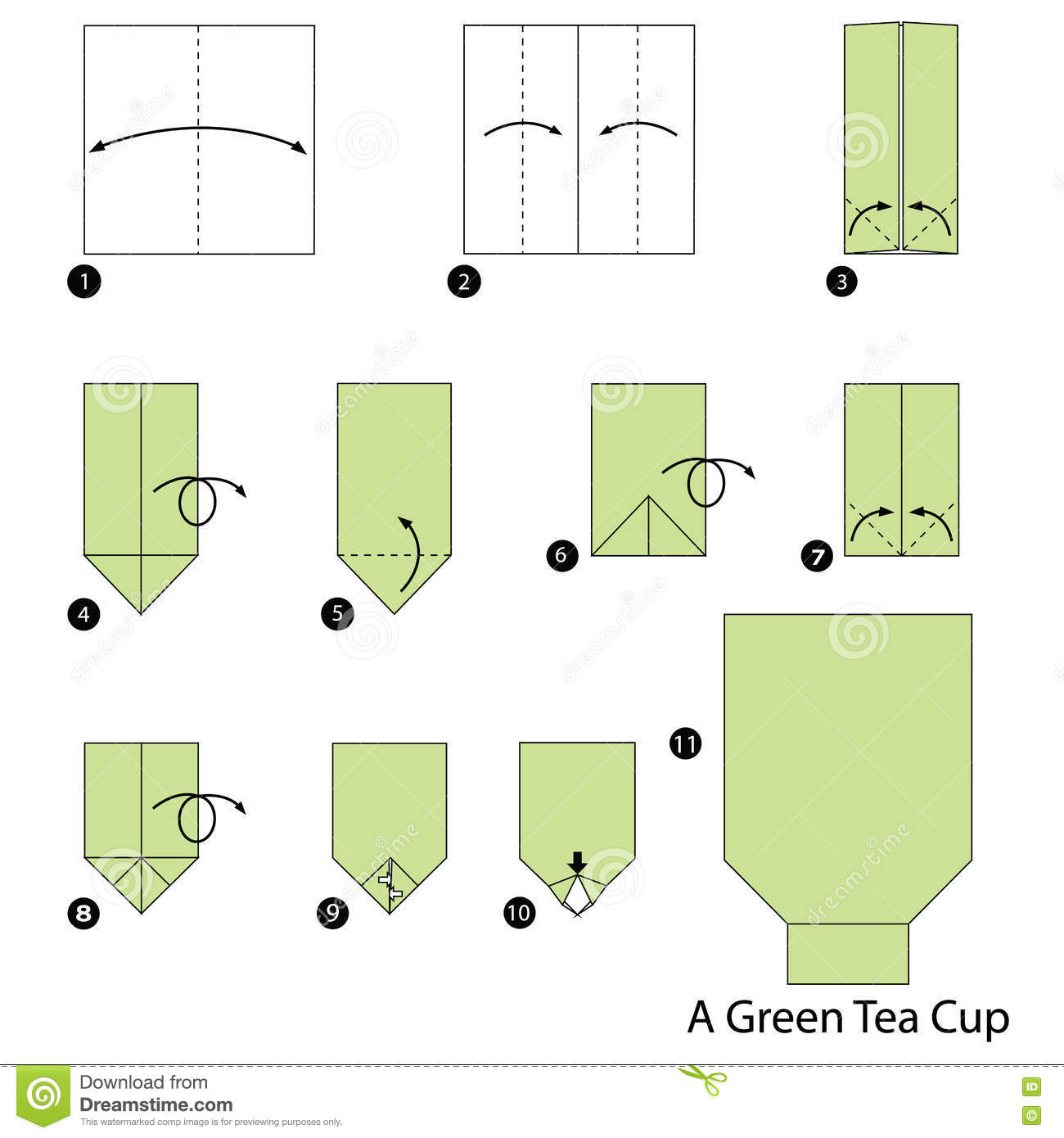 step by step instructions how to make origami a green tea cup