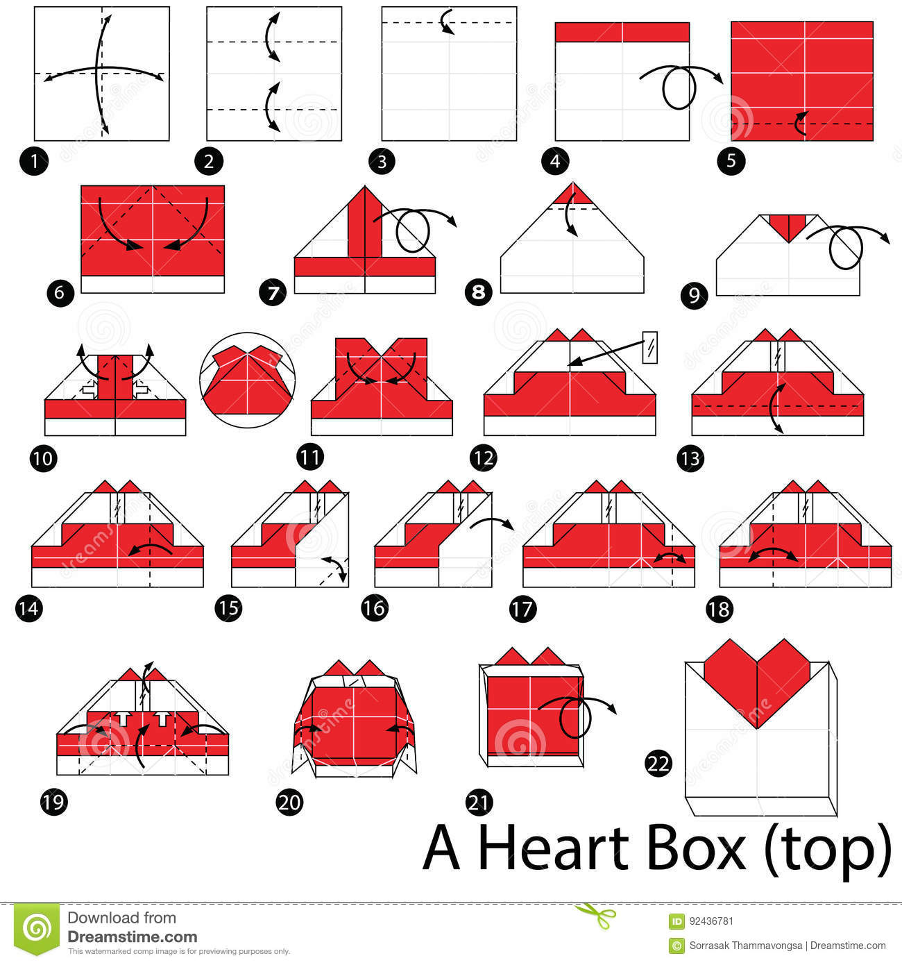 Step By Step Instructions How To Make Origami A Heart. Stock ... | 1390x1300