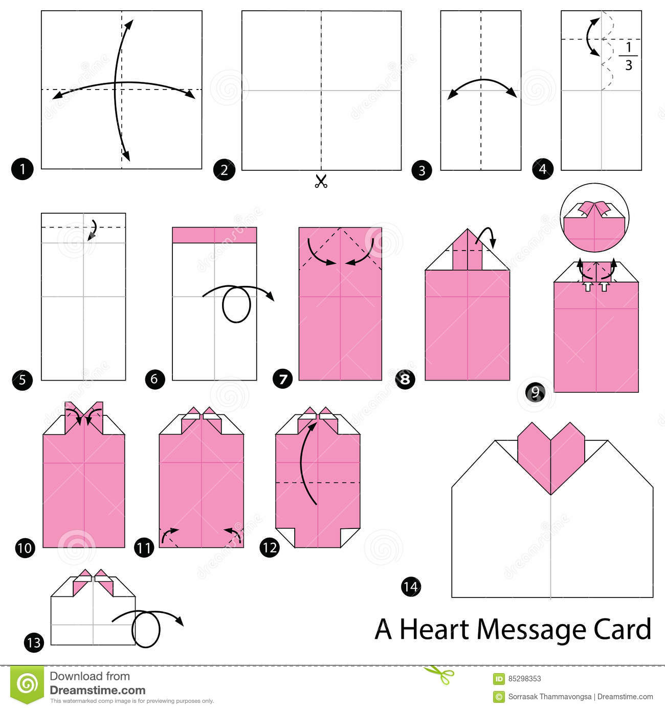 Simple origami heart step by step instructions | Origami easy ... | 1390x1300