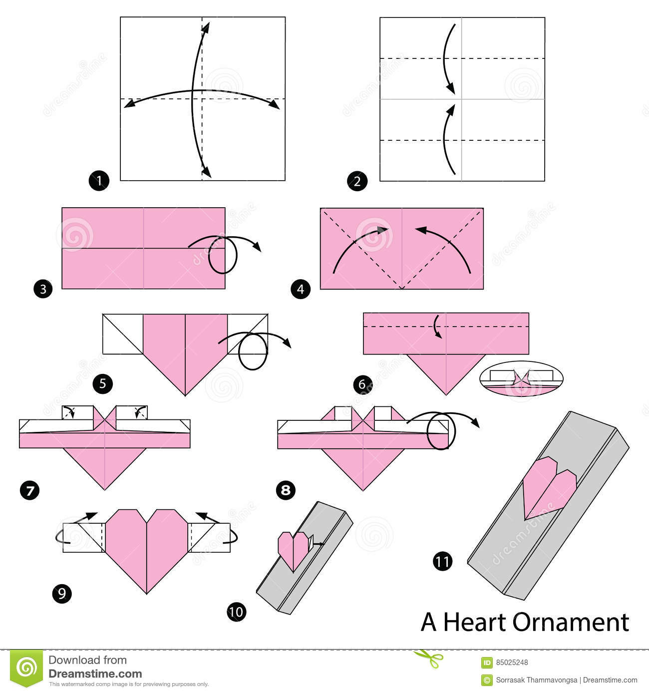 Step By Step Instructions How To Make Origami A Heart Ornament