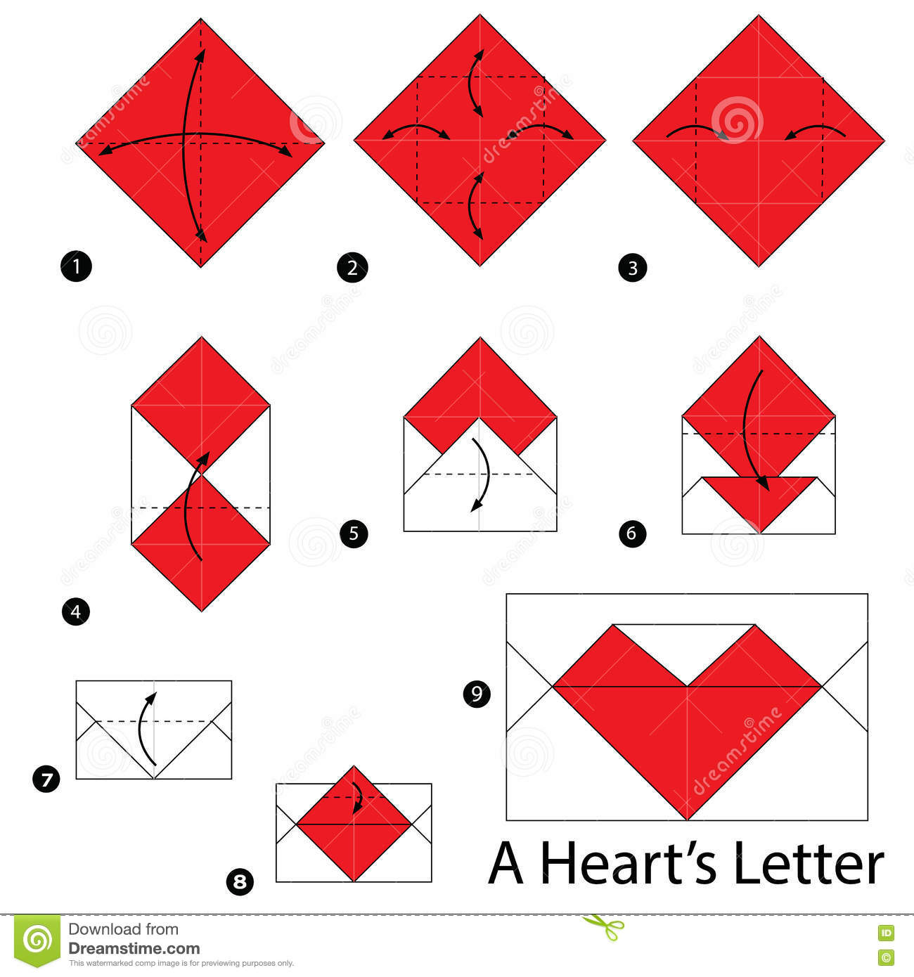 Step By Instructions How To Make Origami A Heart S Letter